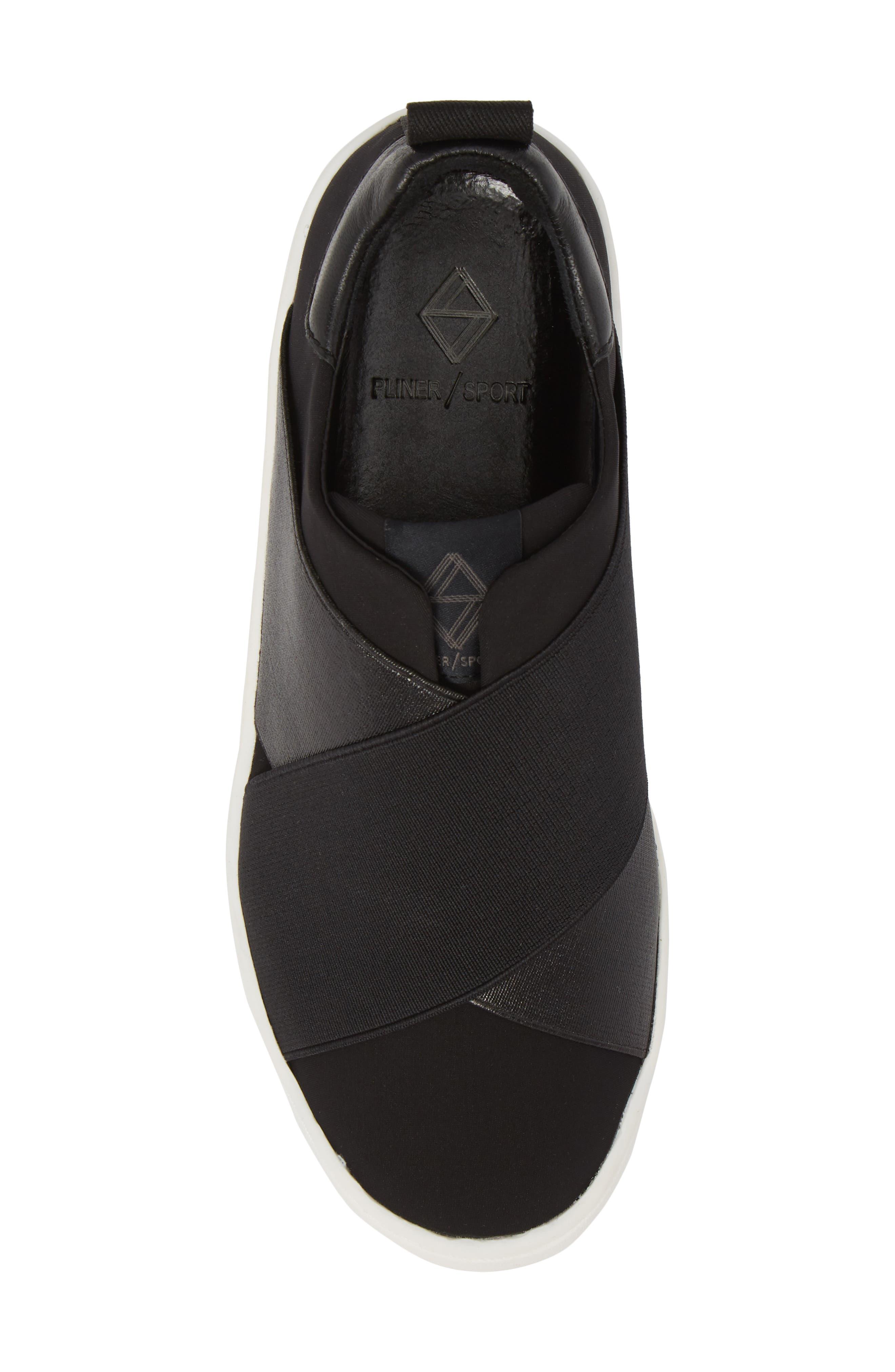 Coley Platform Slip-On Sneaker,                             Alternate thumbnail 5, color,                             BLACK LEATHER