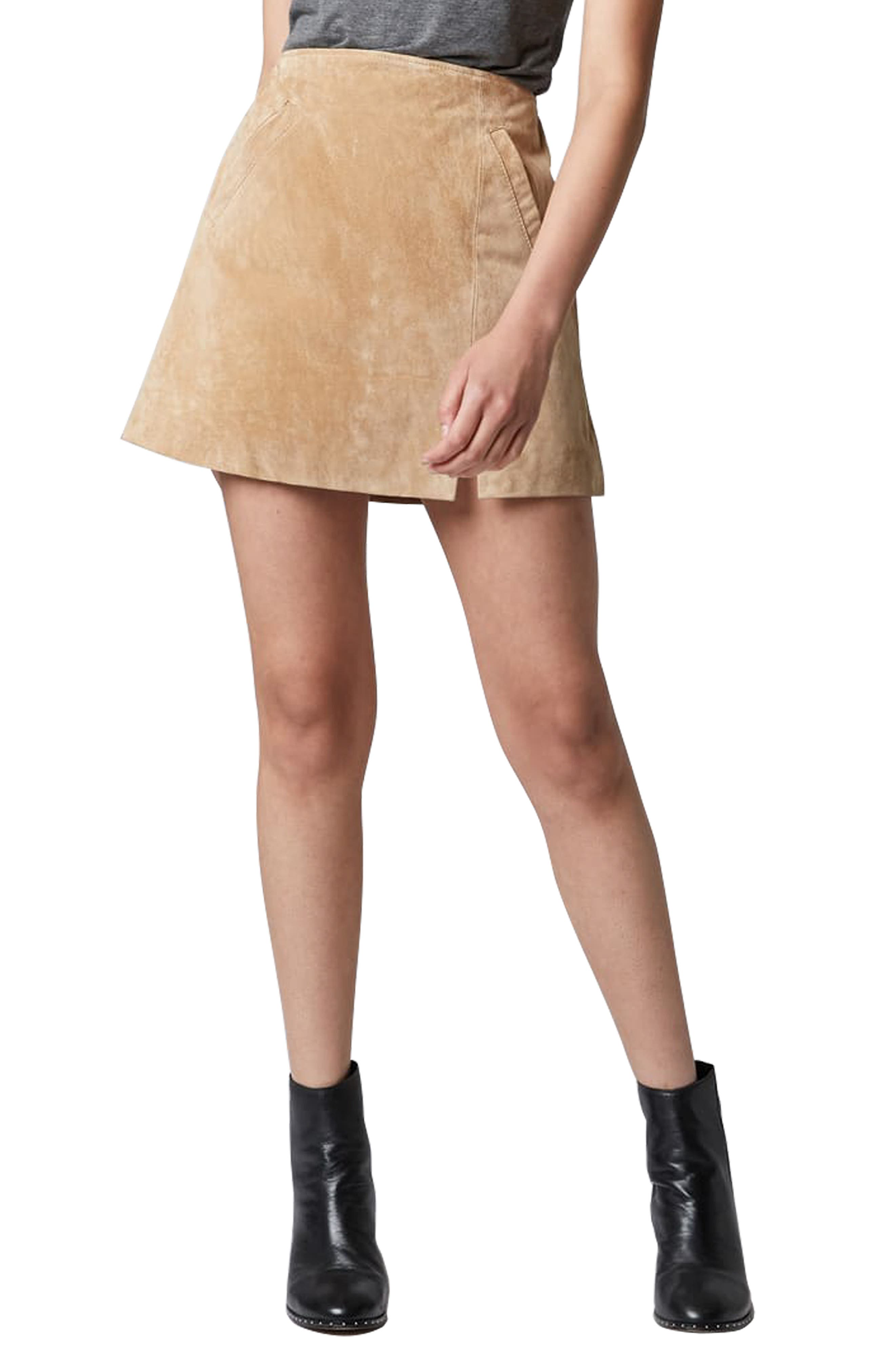 Blanknyc Suede Miniskirt, Brown