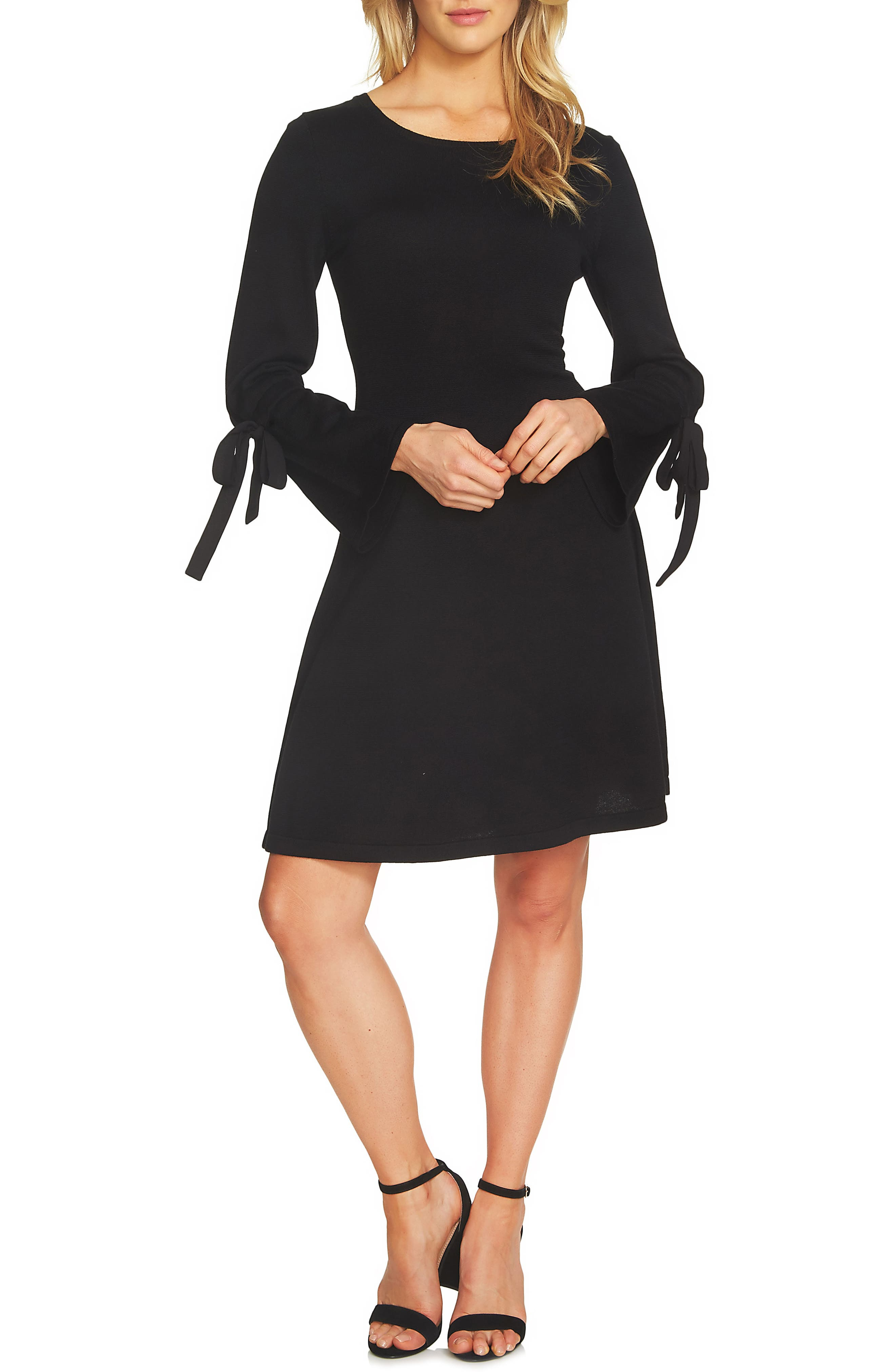 Bell Sleeve Sweater Dress,                             Main thumbnail 1, color,                             006