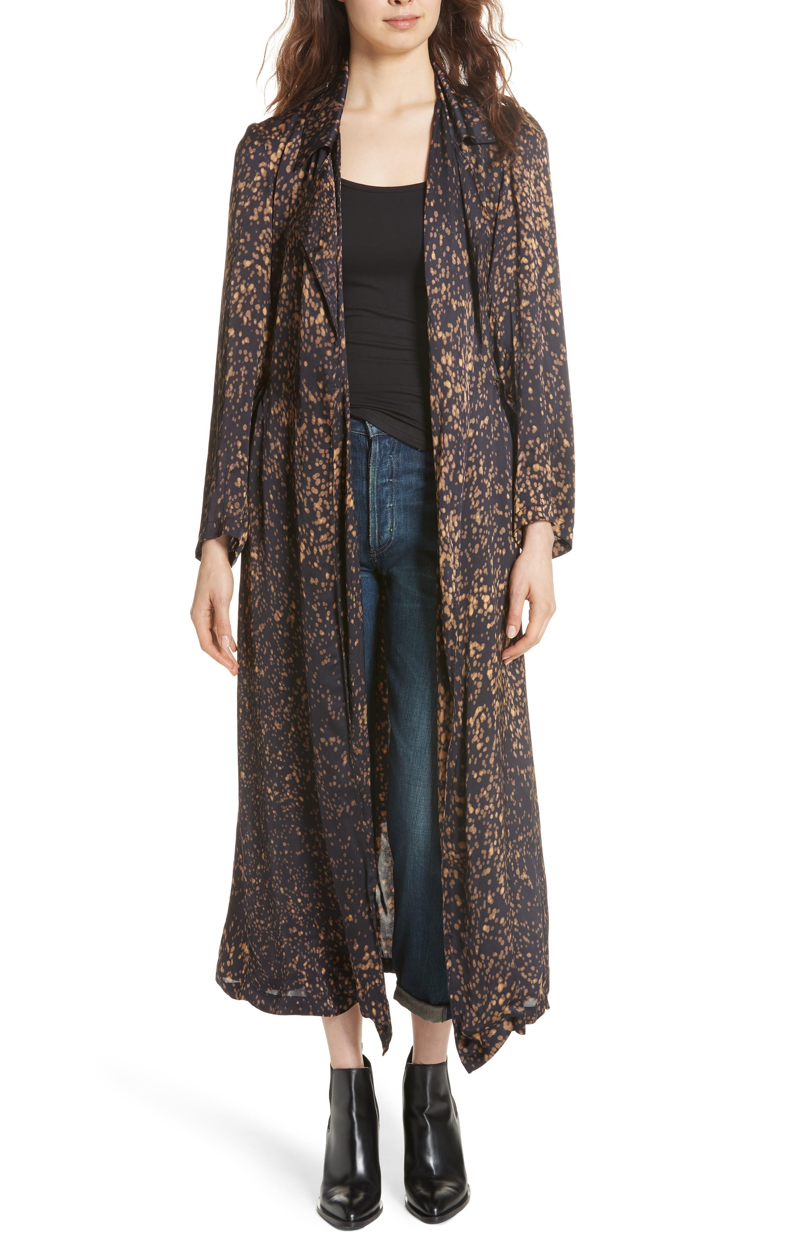 Gabriel Trench Coat,                         Main,                         color, BLACK DOT