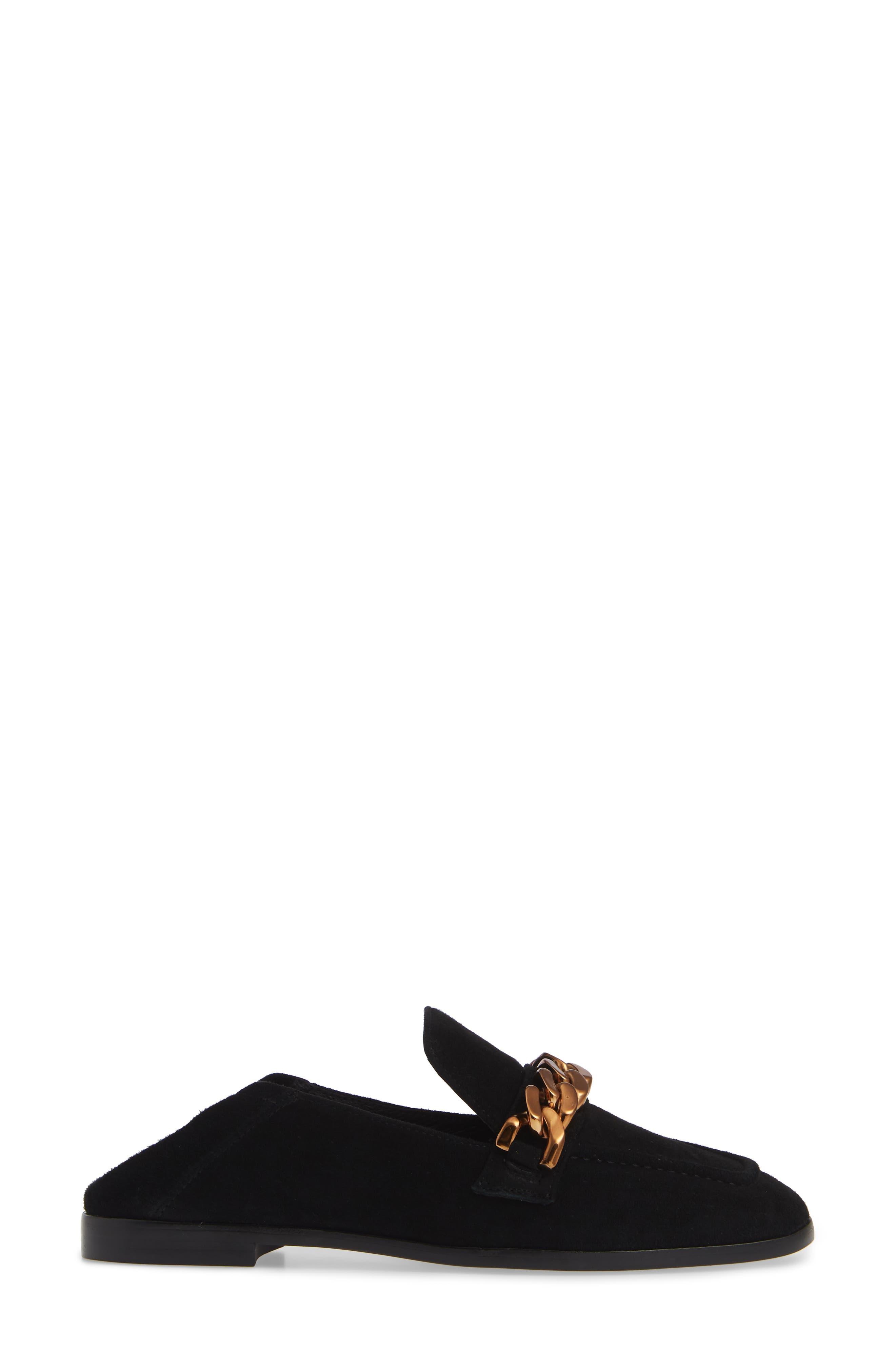Jesse Convertible Heel Loafer,                             Alternate thumbnail 4, color,                             BLACK SUEDE BRONZE