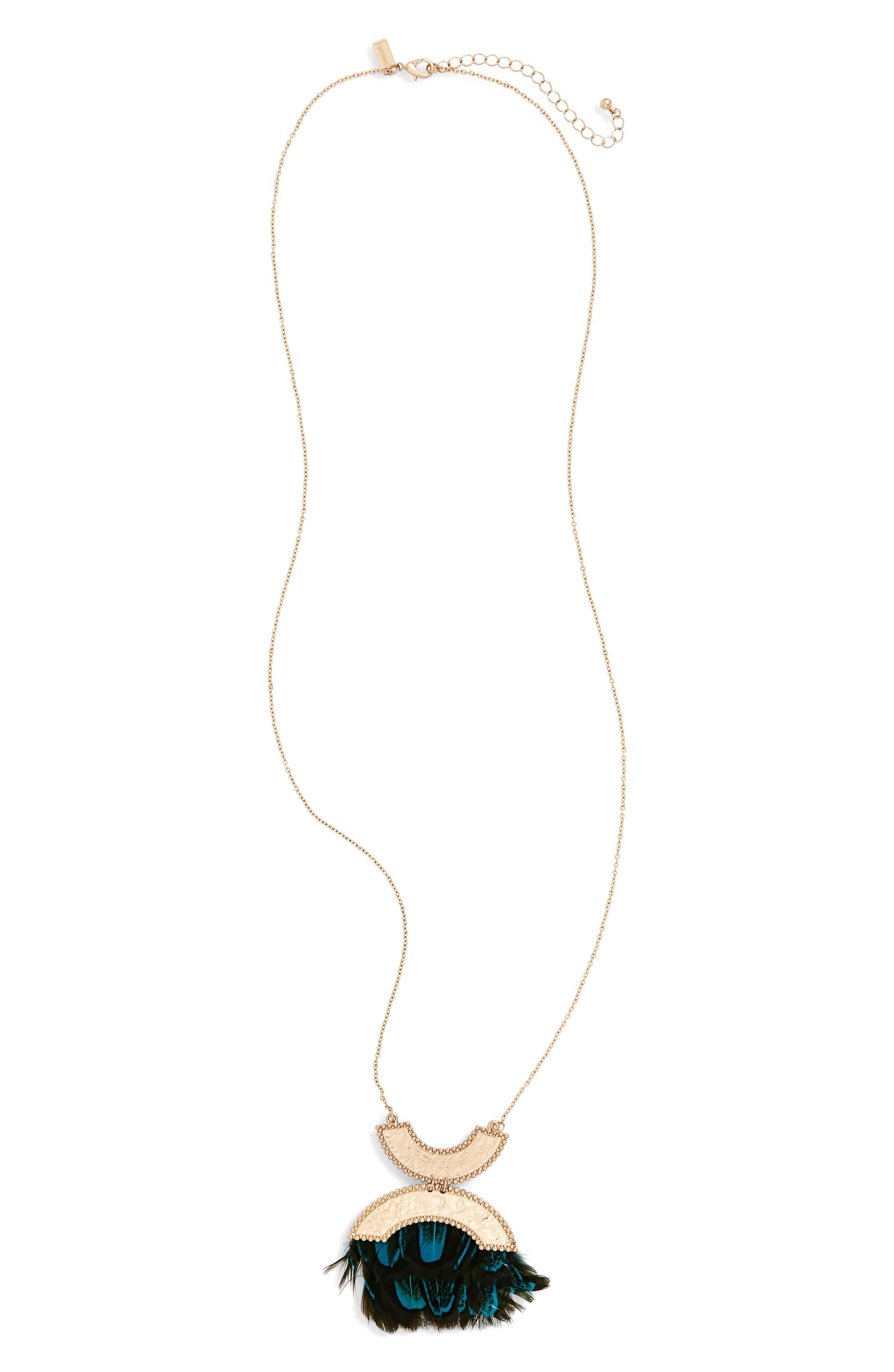 Feather Pendant Necklace,                         Main,                         color, 001