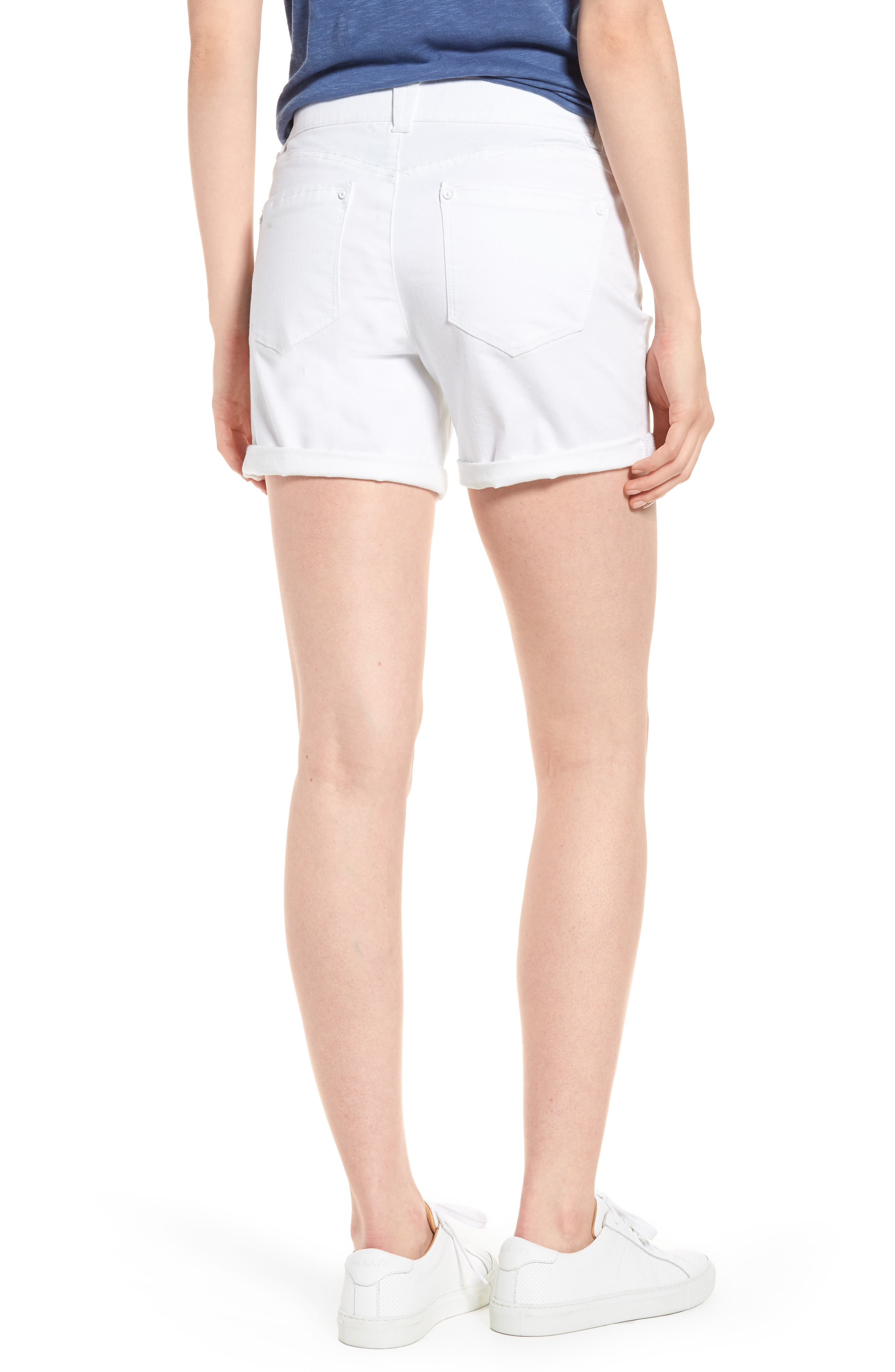 Ab-solution Cuffed White Shorts,                             Alternate thumbnail 2, color,                             106