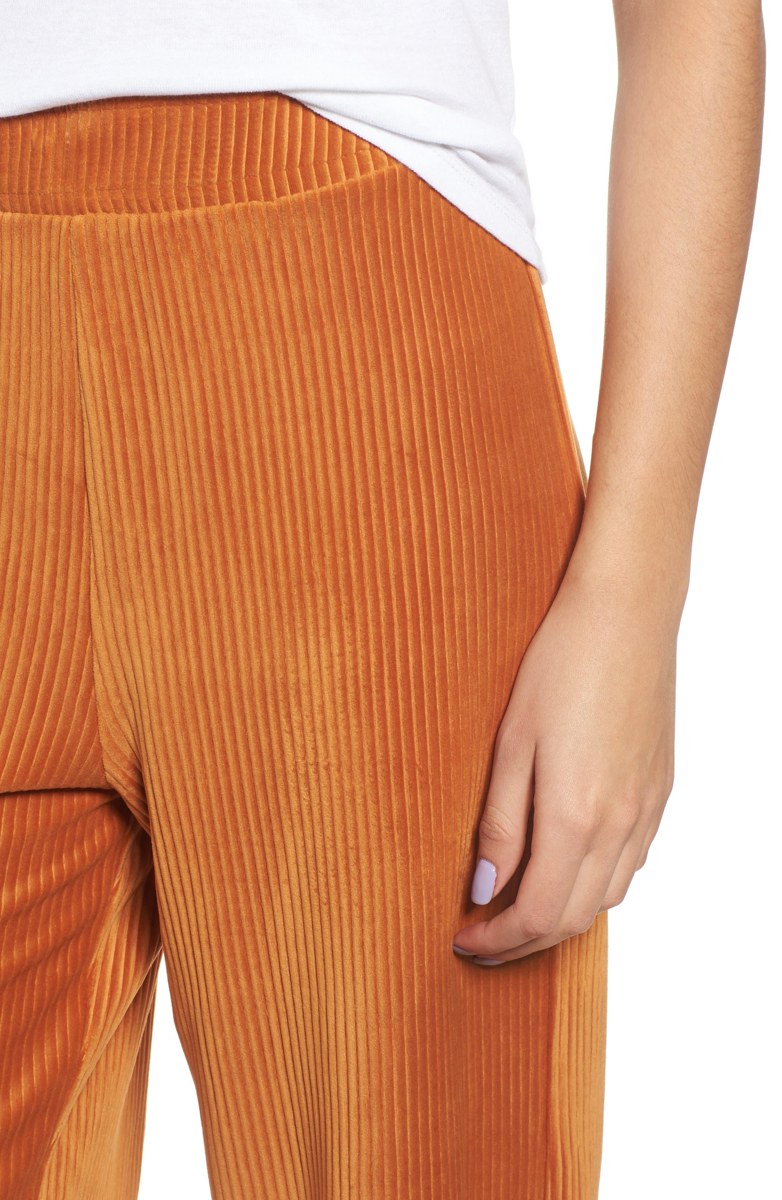High Rise Knit Corduroy Crop Pants,                             Alternate thumbnail 6, color,                             RUST CIDER