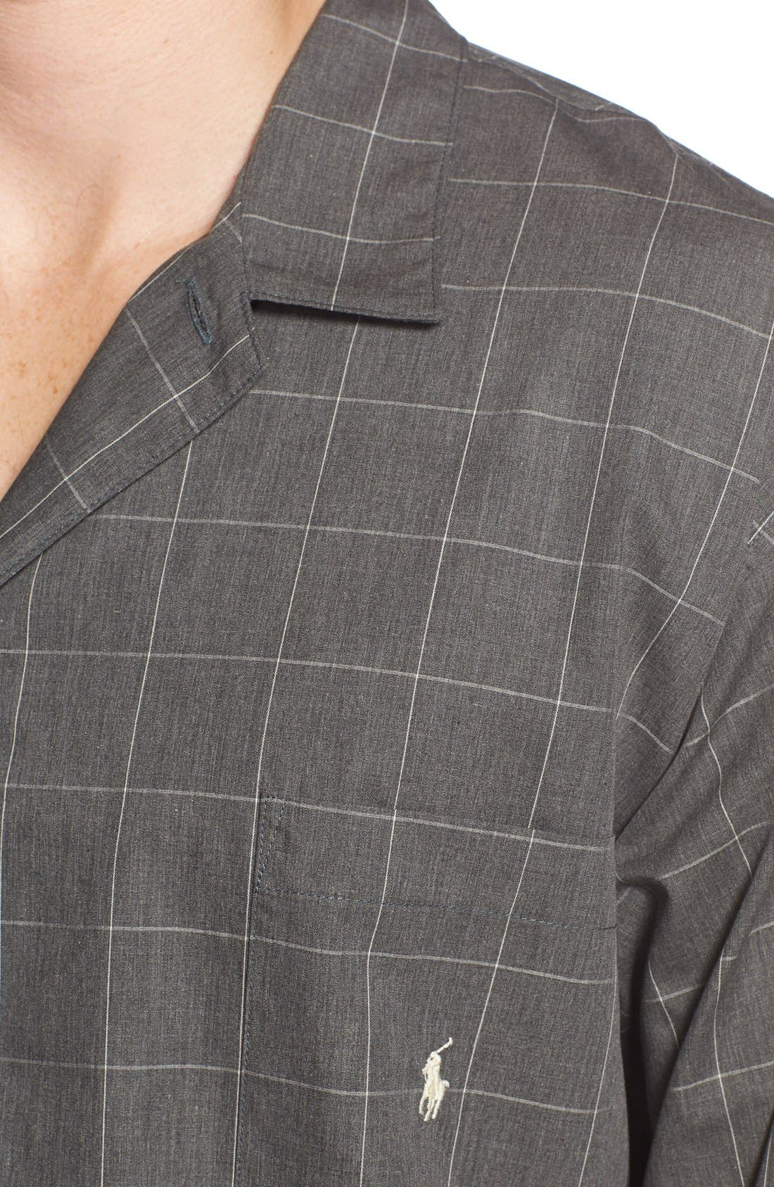 Woven Pajama Top,                             Alternate thumbnail 4, color,                             CHARCOAL