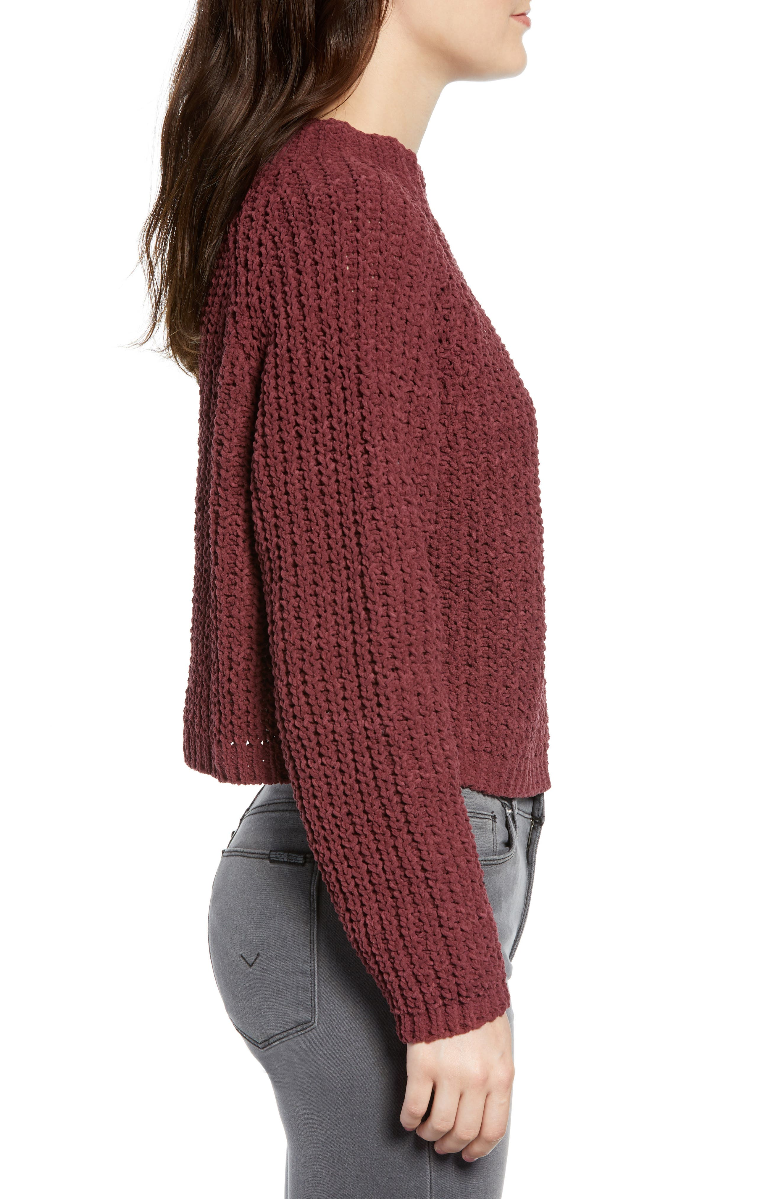 Chenille Sweater,                             Alternate thumbnail 3, color,                             RED RUMBA
