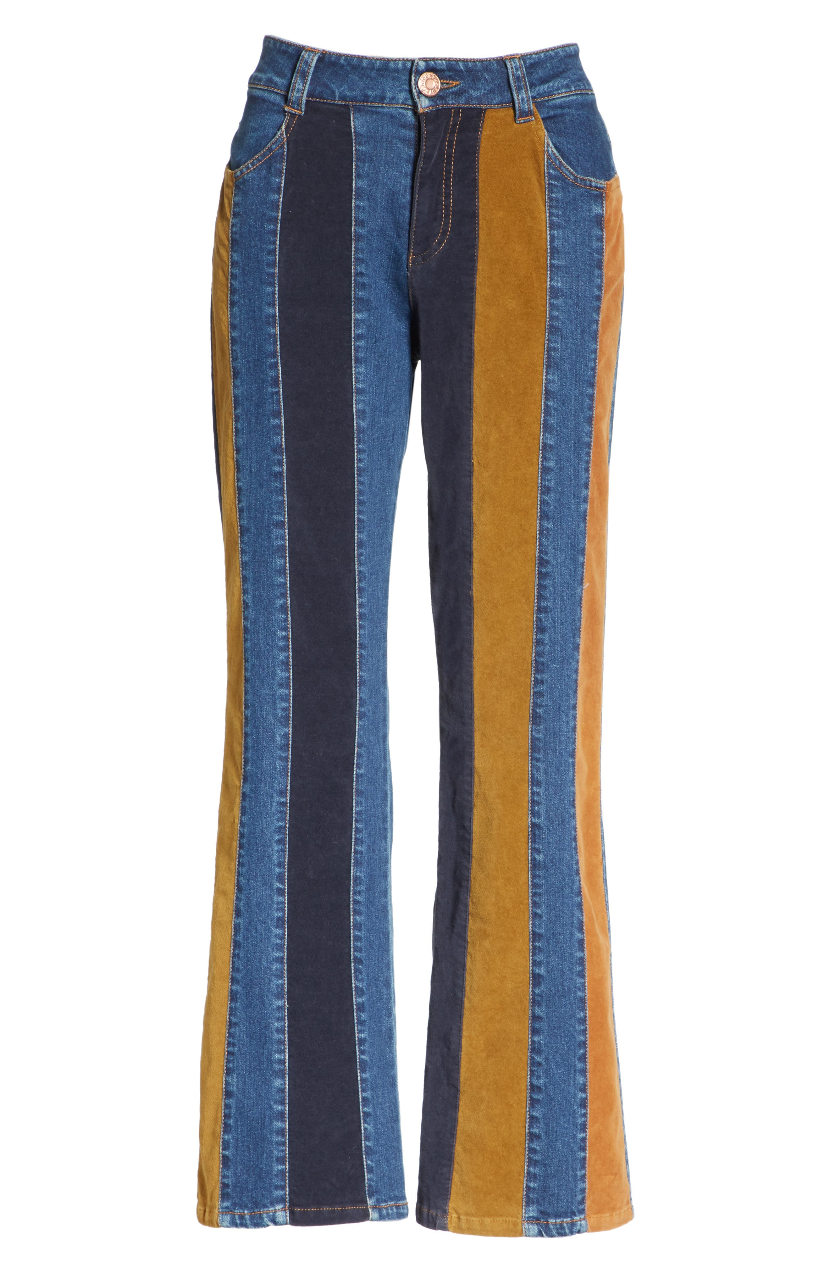 Paneled Crop Flare Jeans,                             Alternate thumbnail 6, color,                             400