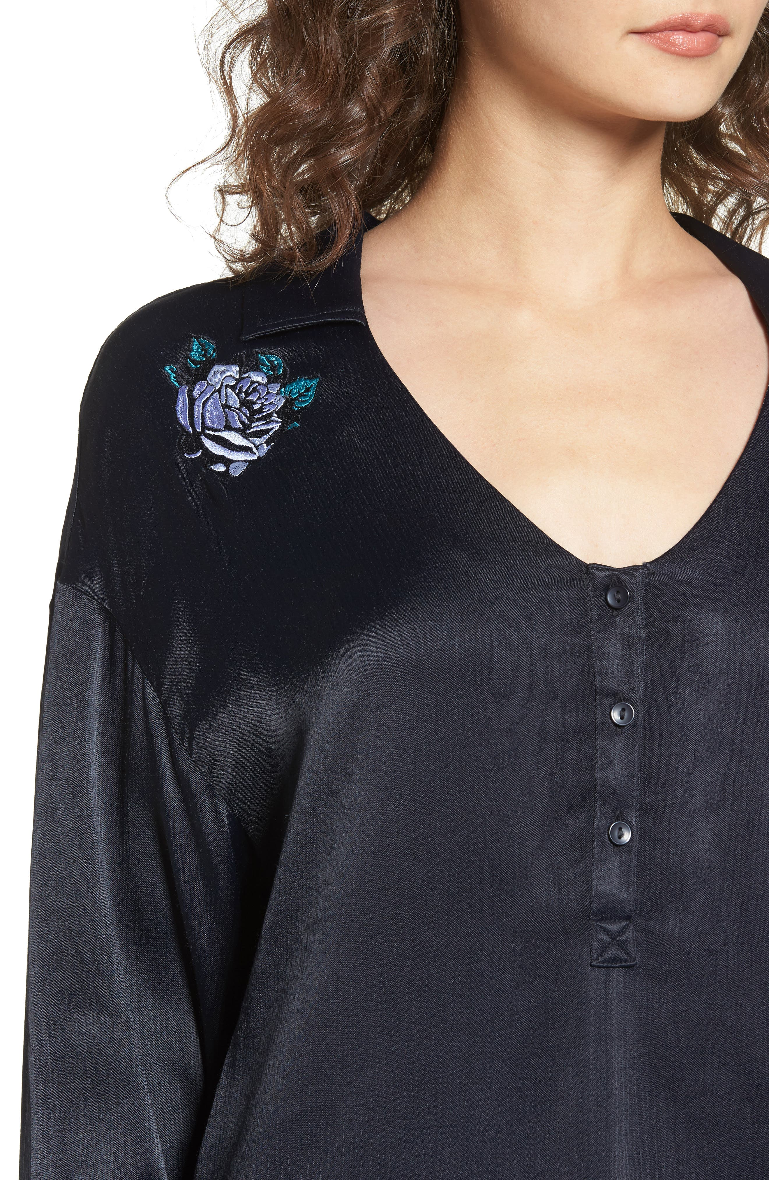 Naomi Embroidered Blouse,                             Alternate thumbnail 4, color,                             001