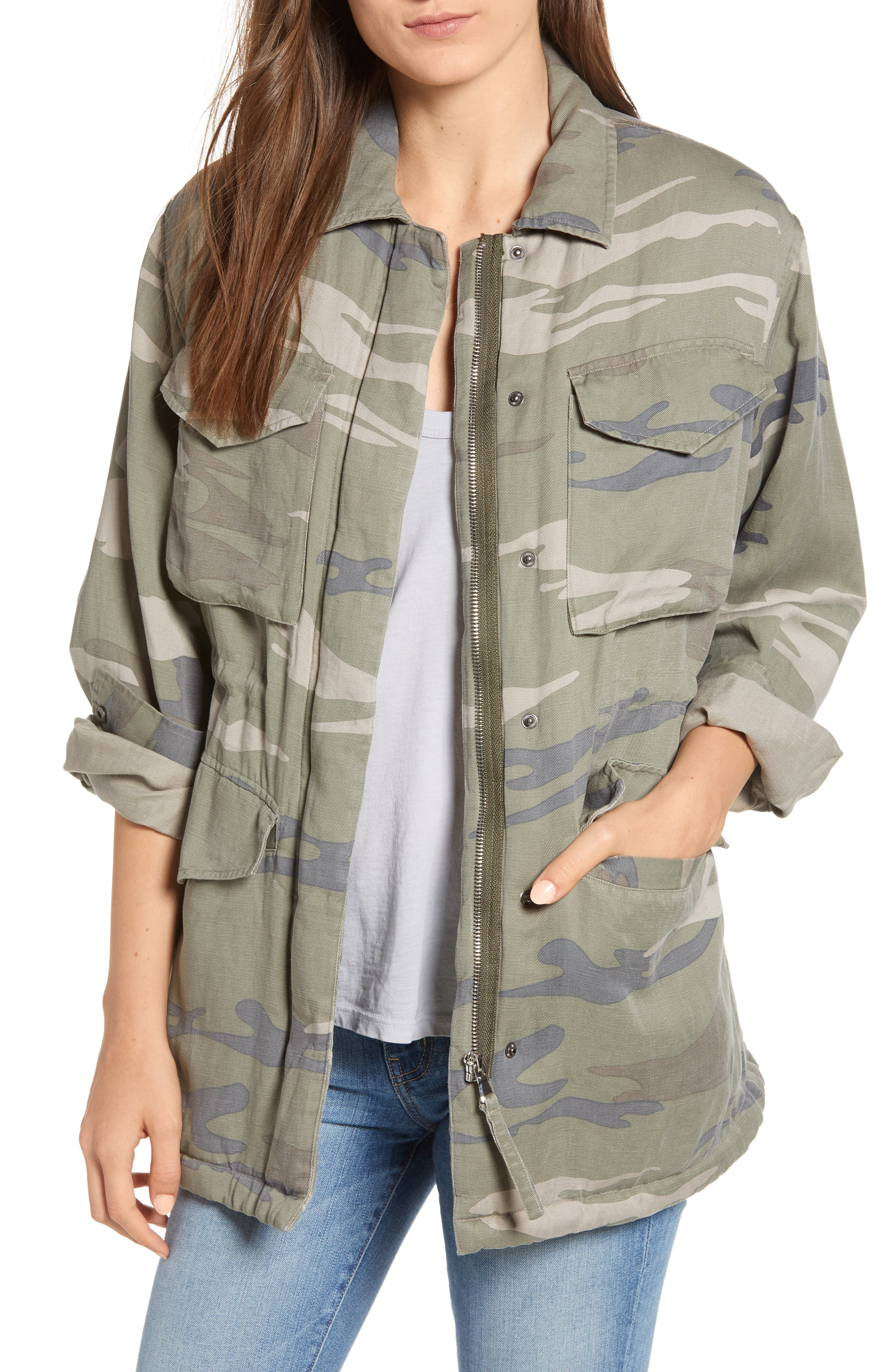 Whitaker Camo-Print Zip-Front Utility Jacket in Green