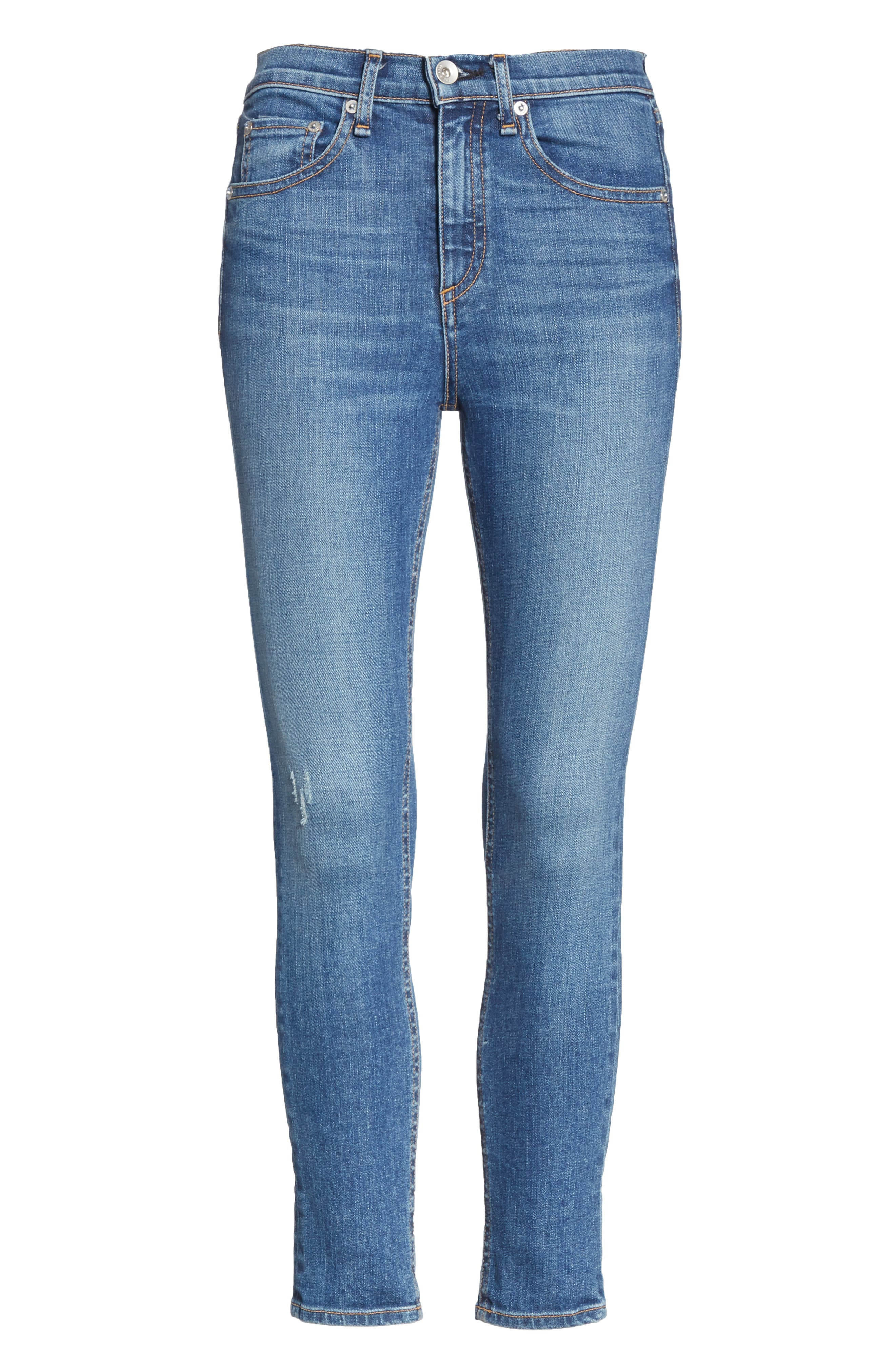 High Waist Ankle Skinny Jeans,                             Alternate thumbnail 7, color,                             EL