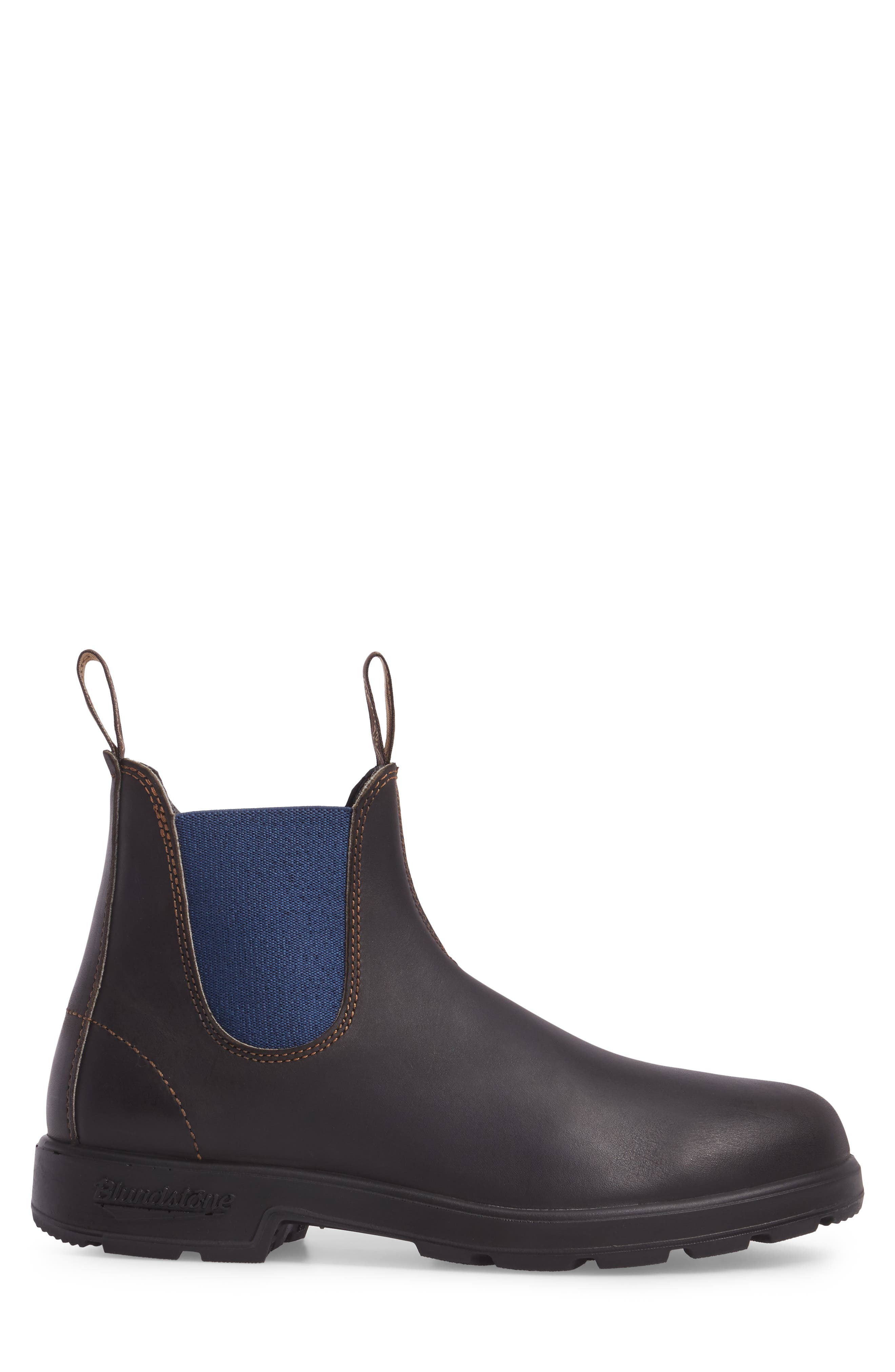 Chelsea Boot,                             Alternate thumbnail 3, color,                             BROWN/ BLUE LEATHER