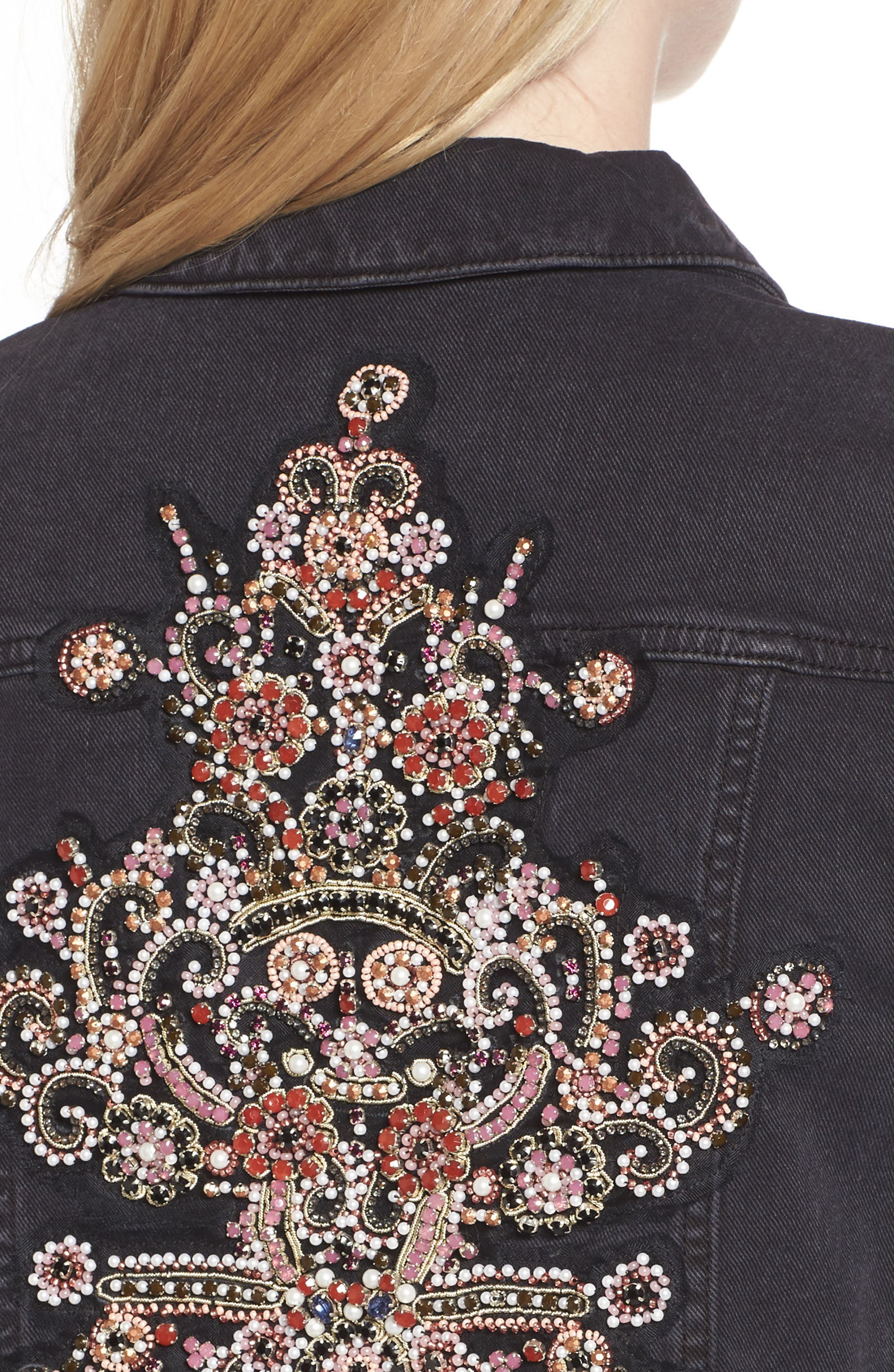 Embellished Boyfriend Denim Jacket,                             Alternate thumbnail 4, color,                             005