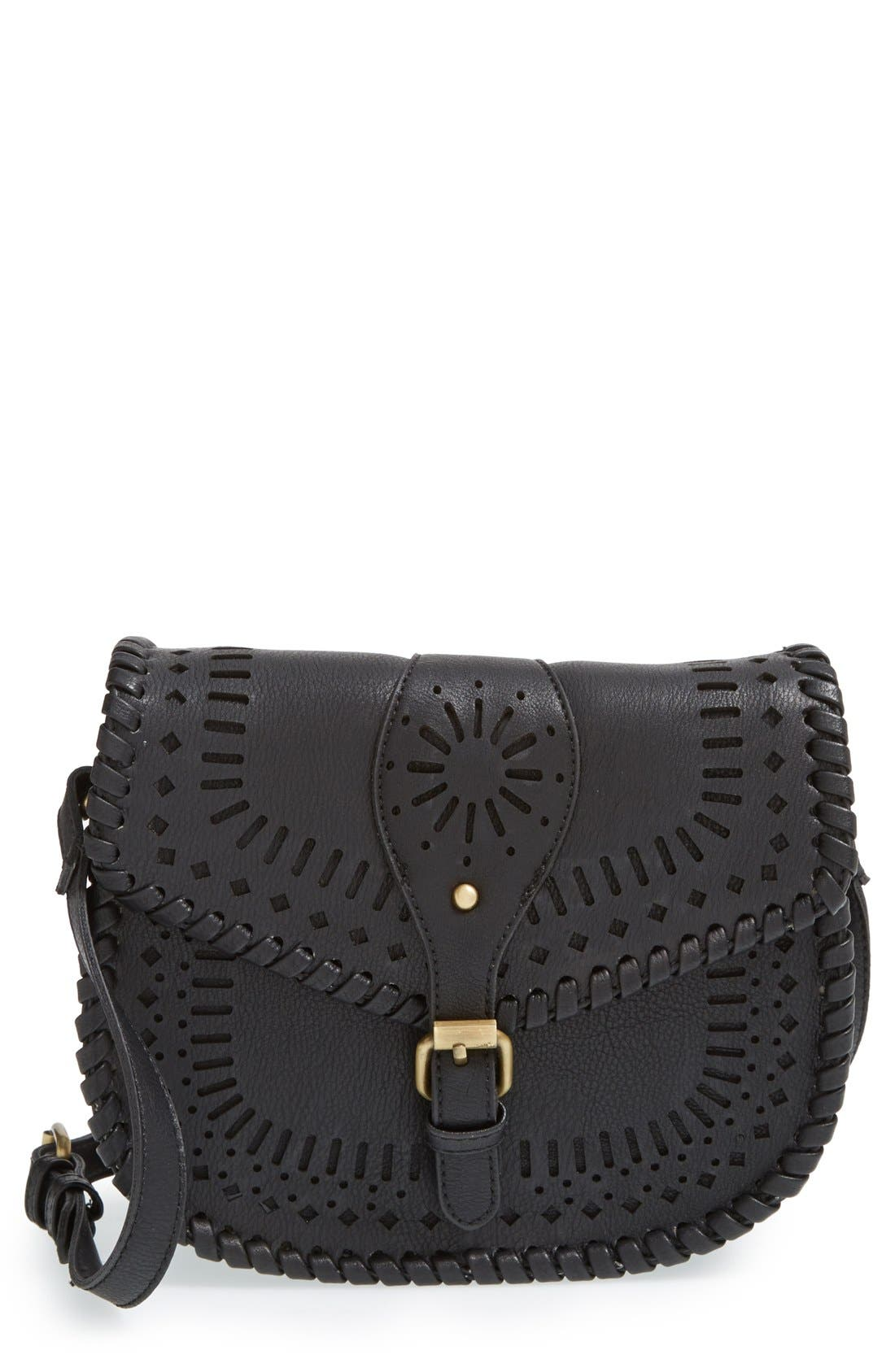 'Kianna' Perforated Faux Leather Crossbody Bag,                             Main thumbnail 1, color,                             001