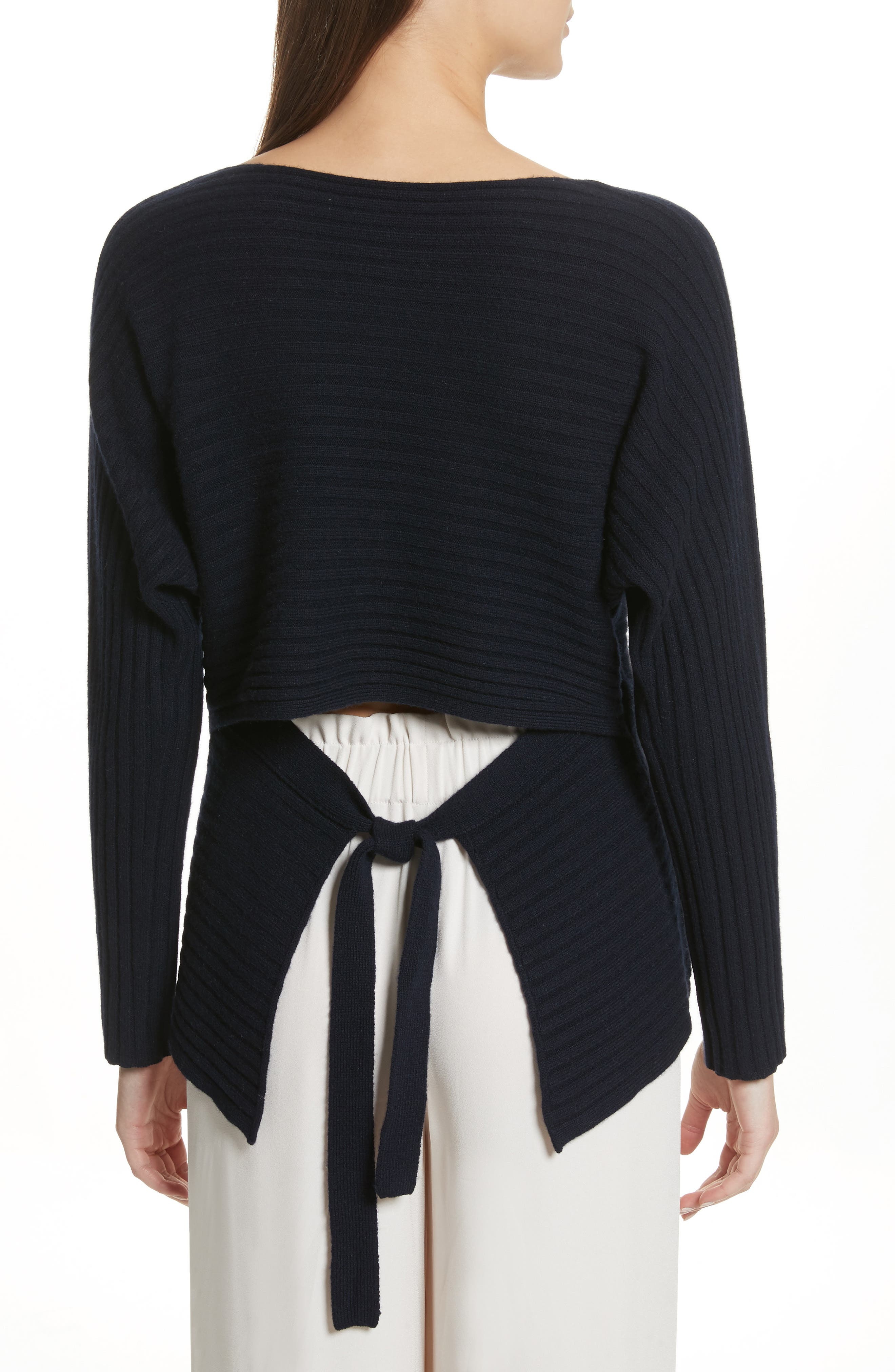 Tie Back Wool & Cashmere Sweater,                             Alternate thumbnail 4, color,