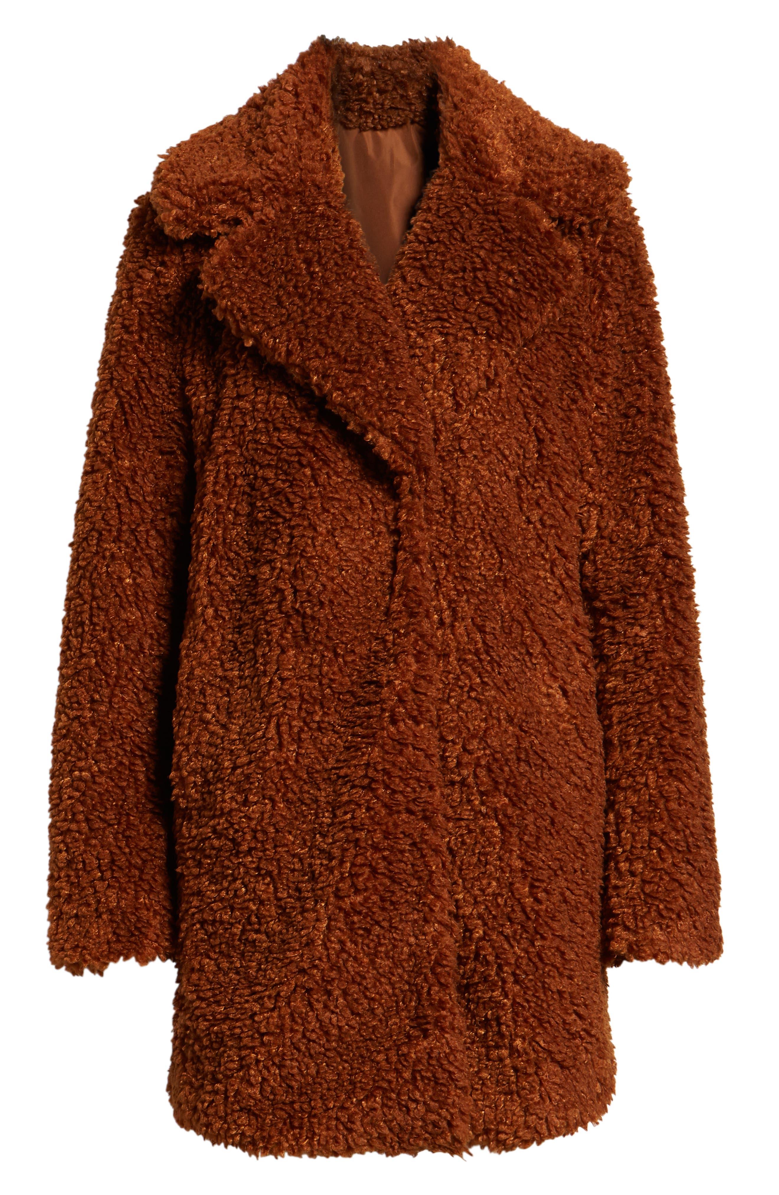 Faux Shearling Coat,                             Alternate thumbnail 6, color,                             RUST