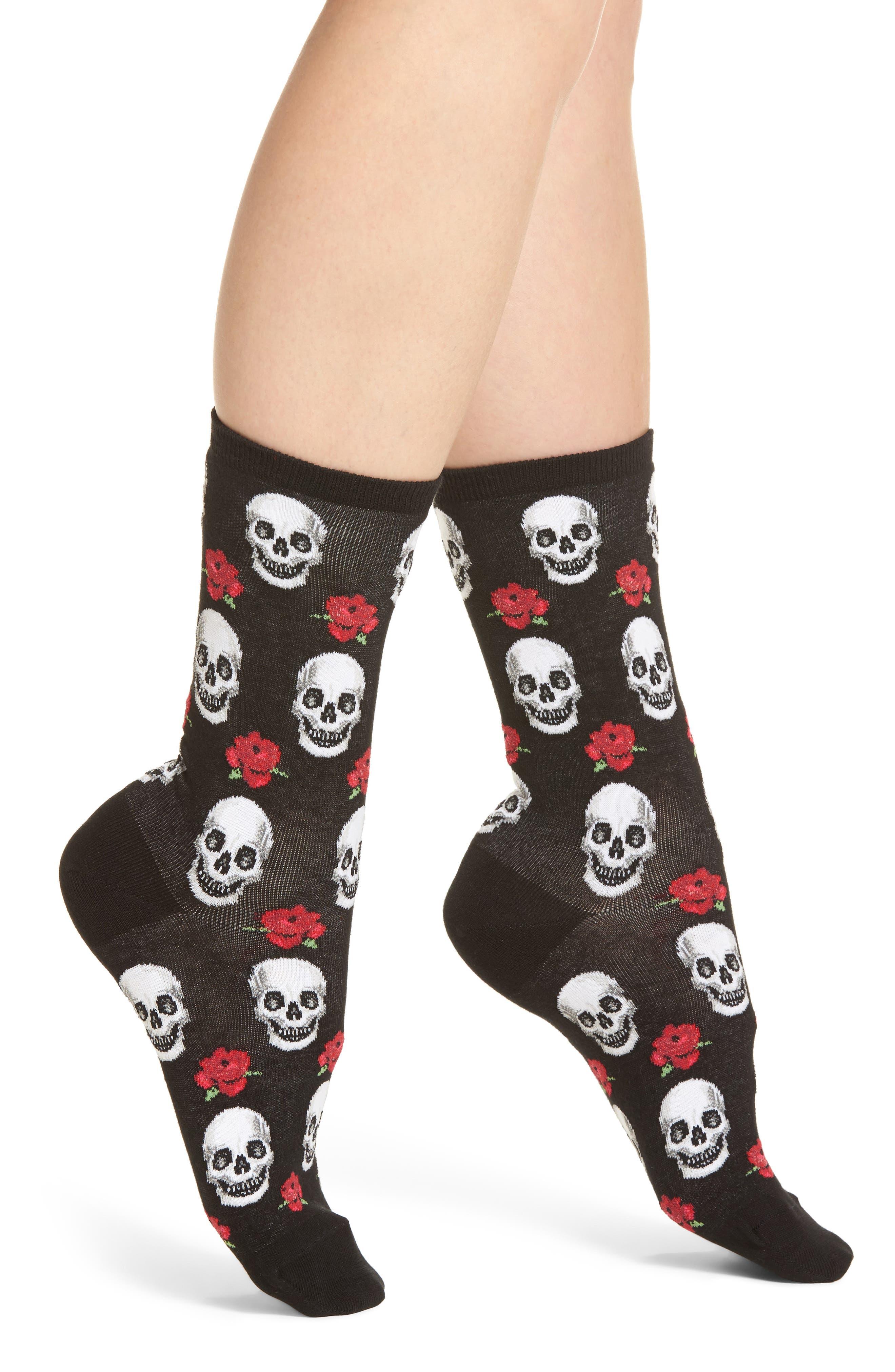 Skull & Roses Crew Socks,                             Main thumbnail 1, color,                             001