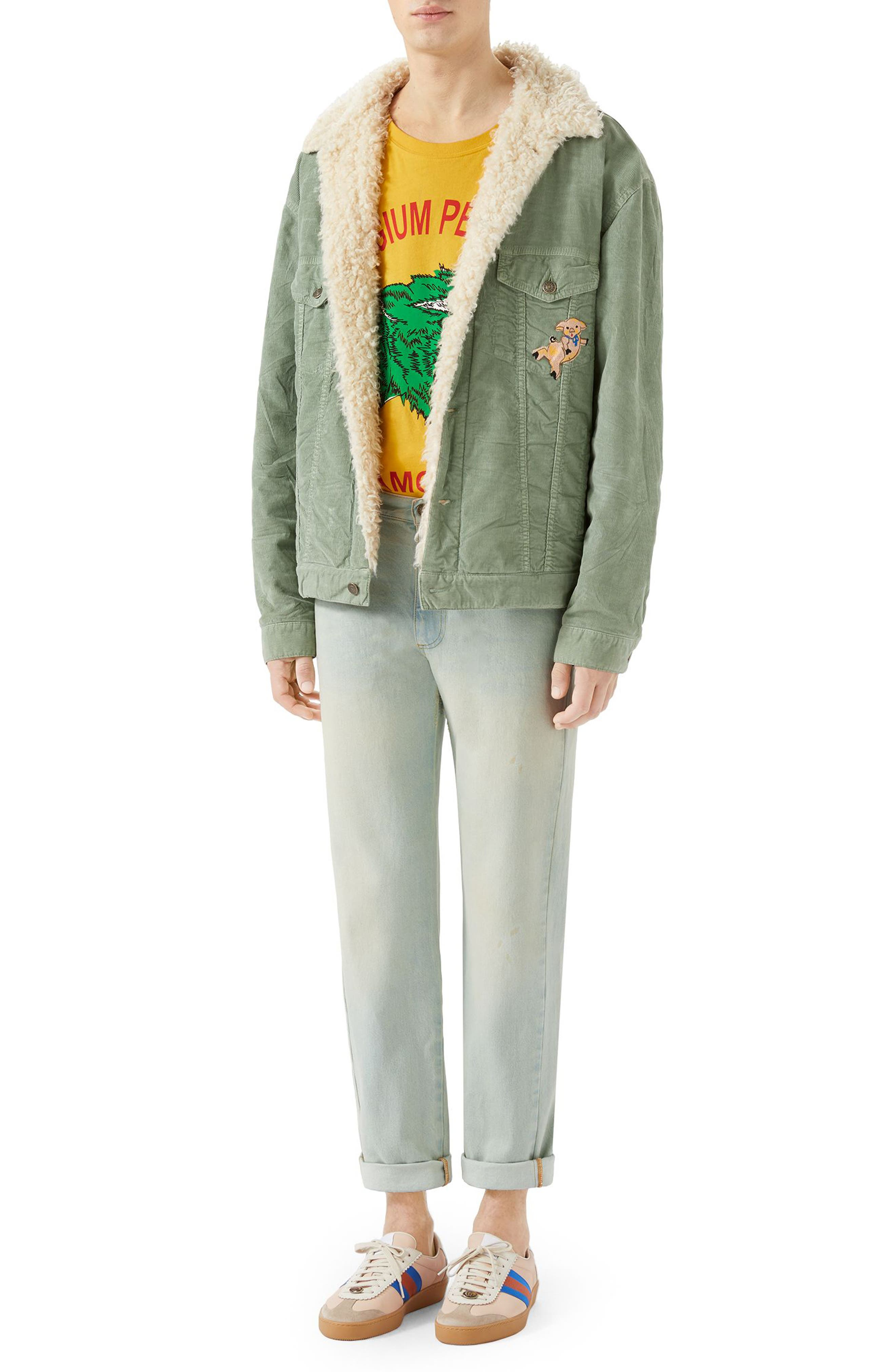 Corduroy Western Jacket with Faux Shearling Lining,                             Alternate thumbnail 3, color,                             PALE GREEN