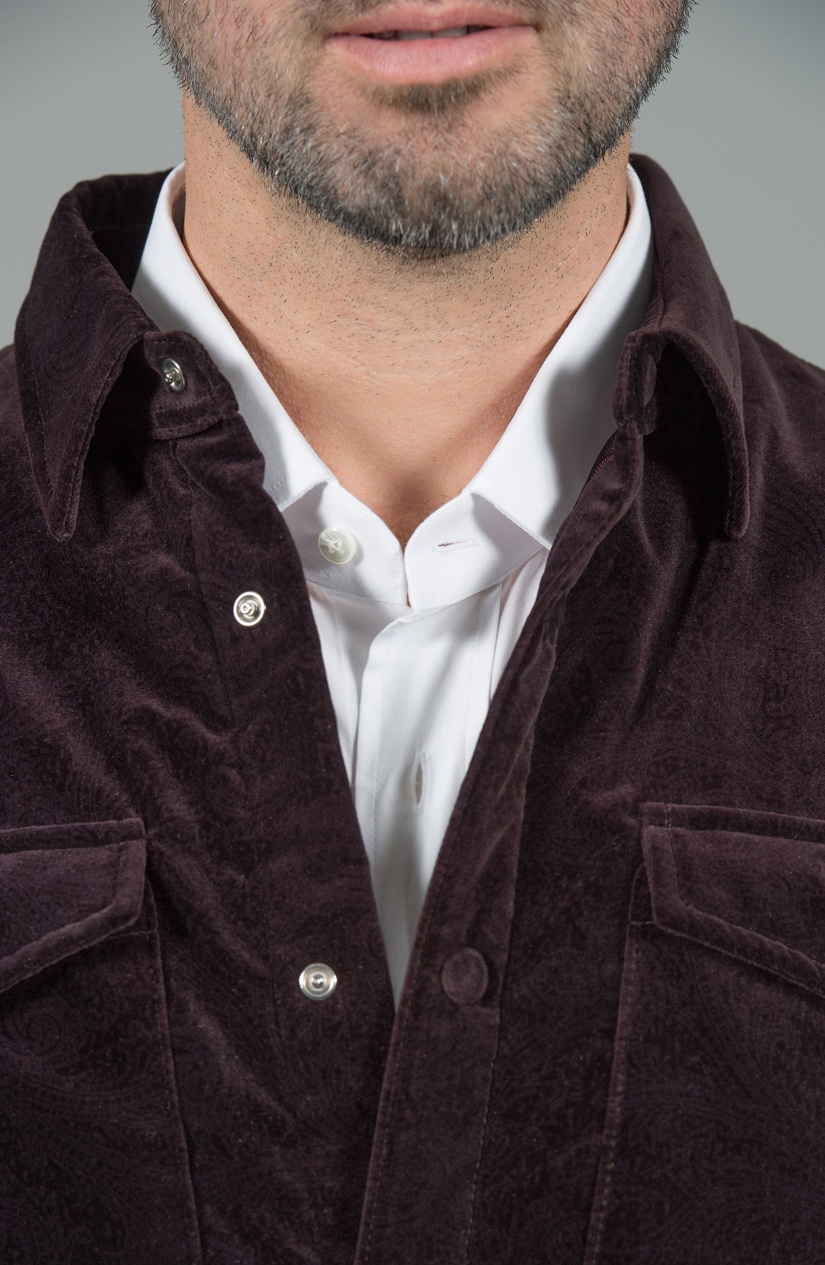 Carnaby Slim Fit Shirt Jacket,                             Alternate thumbnail 3, color,                             EGGPLANT