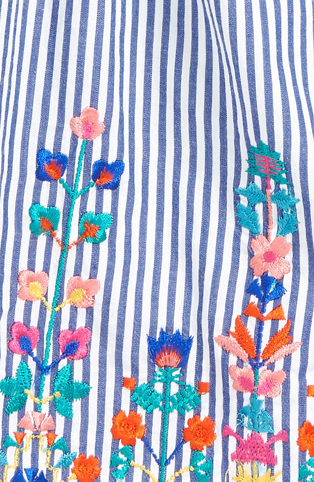Christina Embroidered Stripe Dress,                             Alternate thumbnail 2, color,