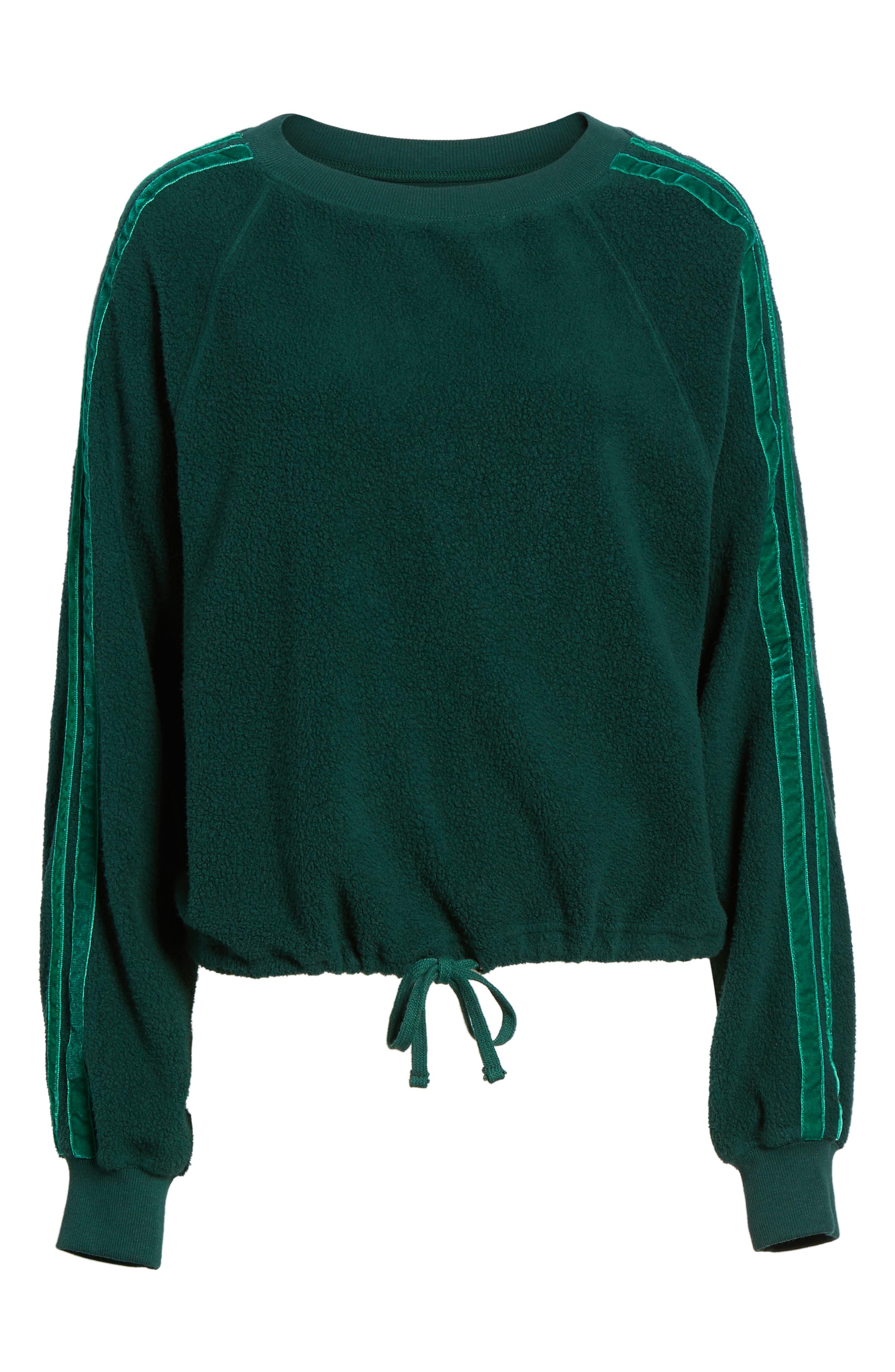 Velvet Stripe Crop Fleece Sweatshirt,                             Alternate thumbnail 6, color,                             BOTANICAL GREEN