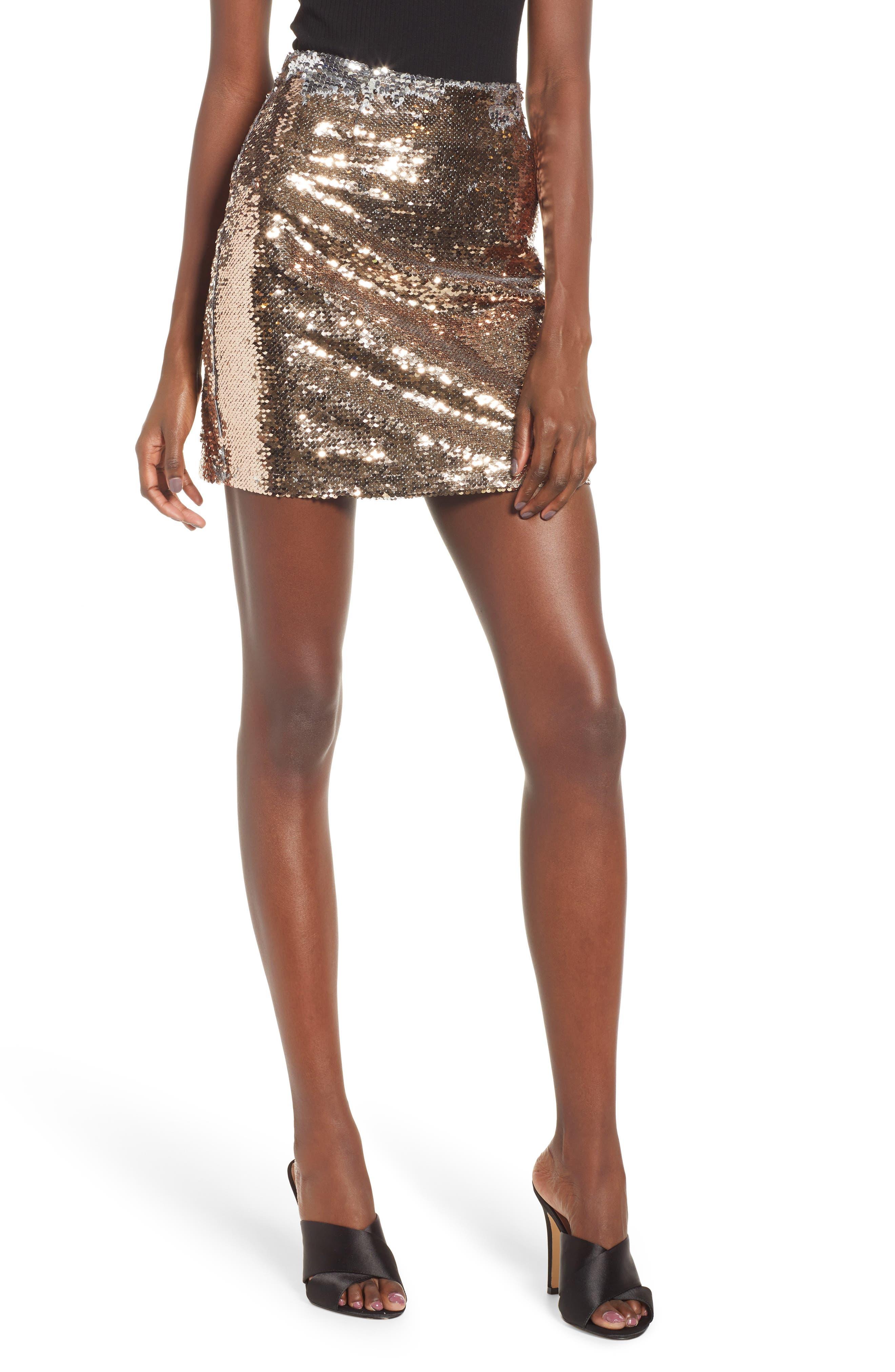 Sequin Miniskirt, Main, color, ROSE