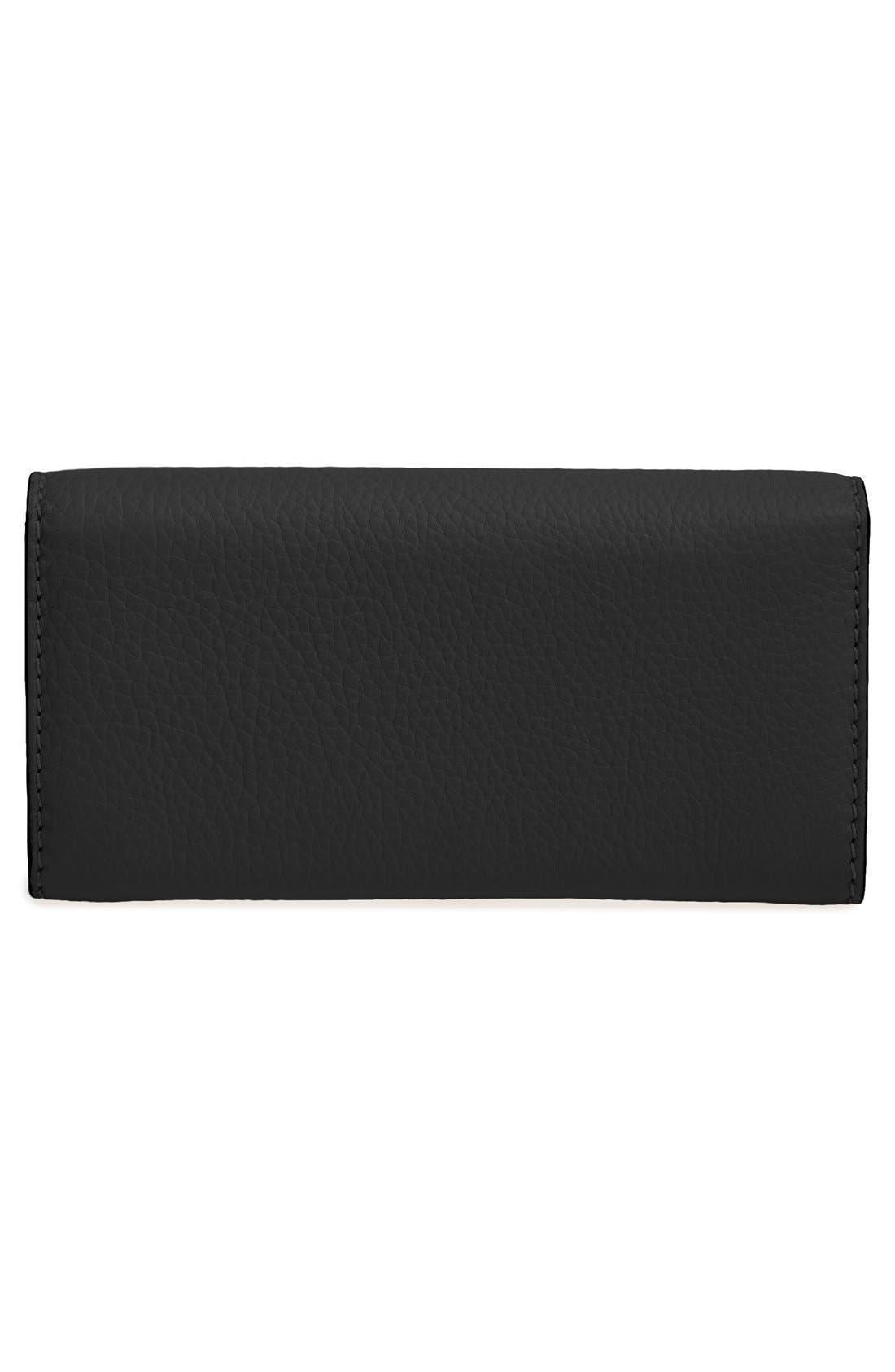 Marcie - Long Leather Flap Wallet,                             Alternate thumbnail 8, color,                             BLACK