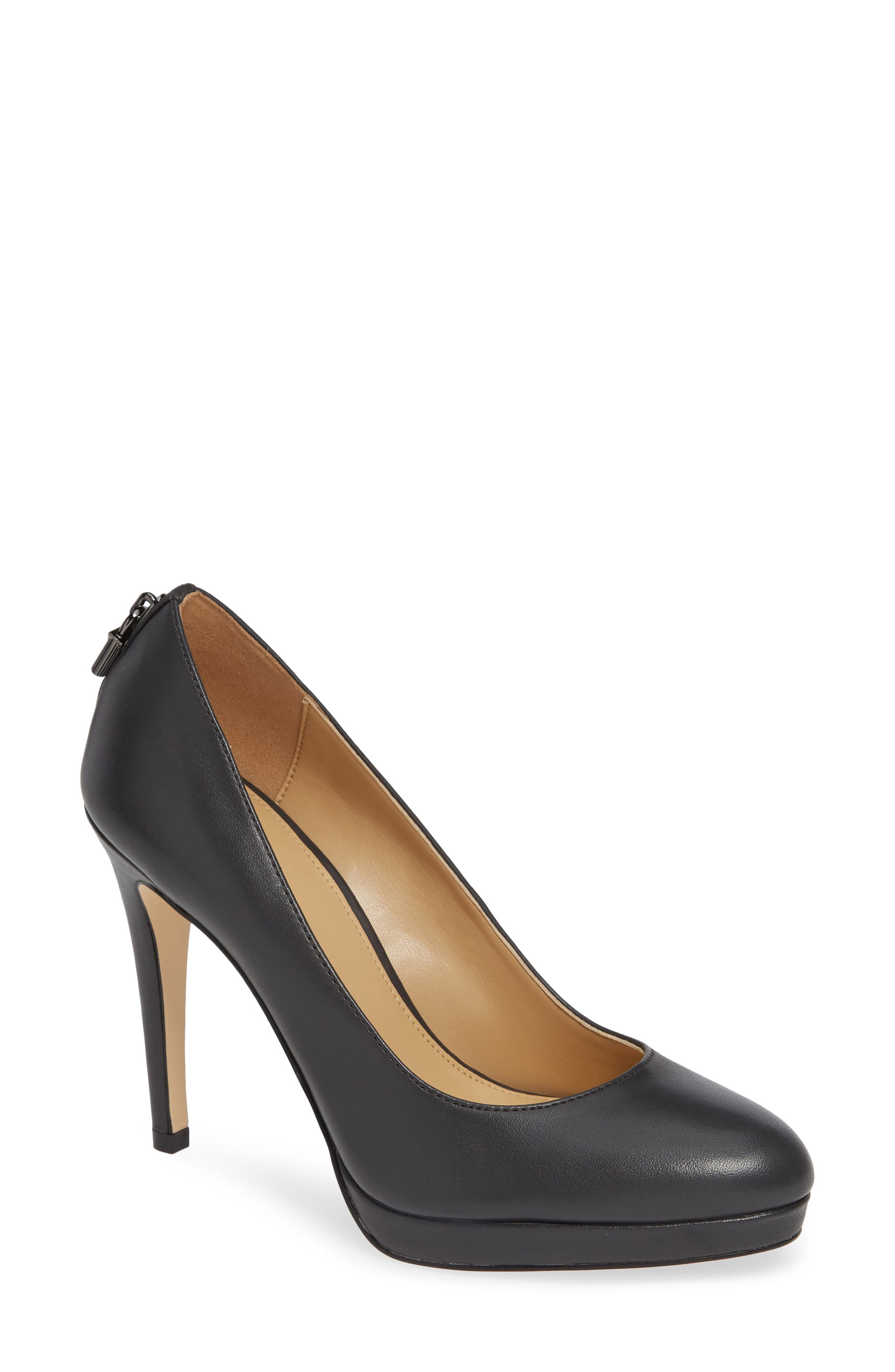 Antoinette Leather Platform Pumps With Padlock in Charcoal Leather