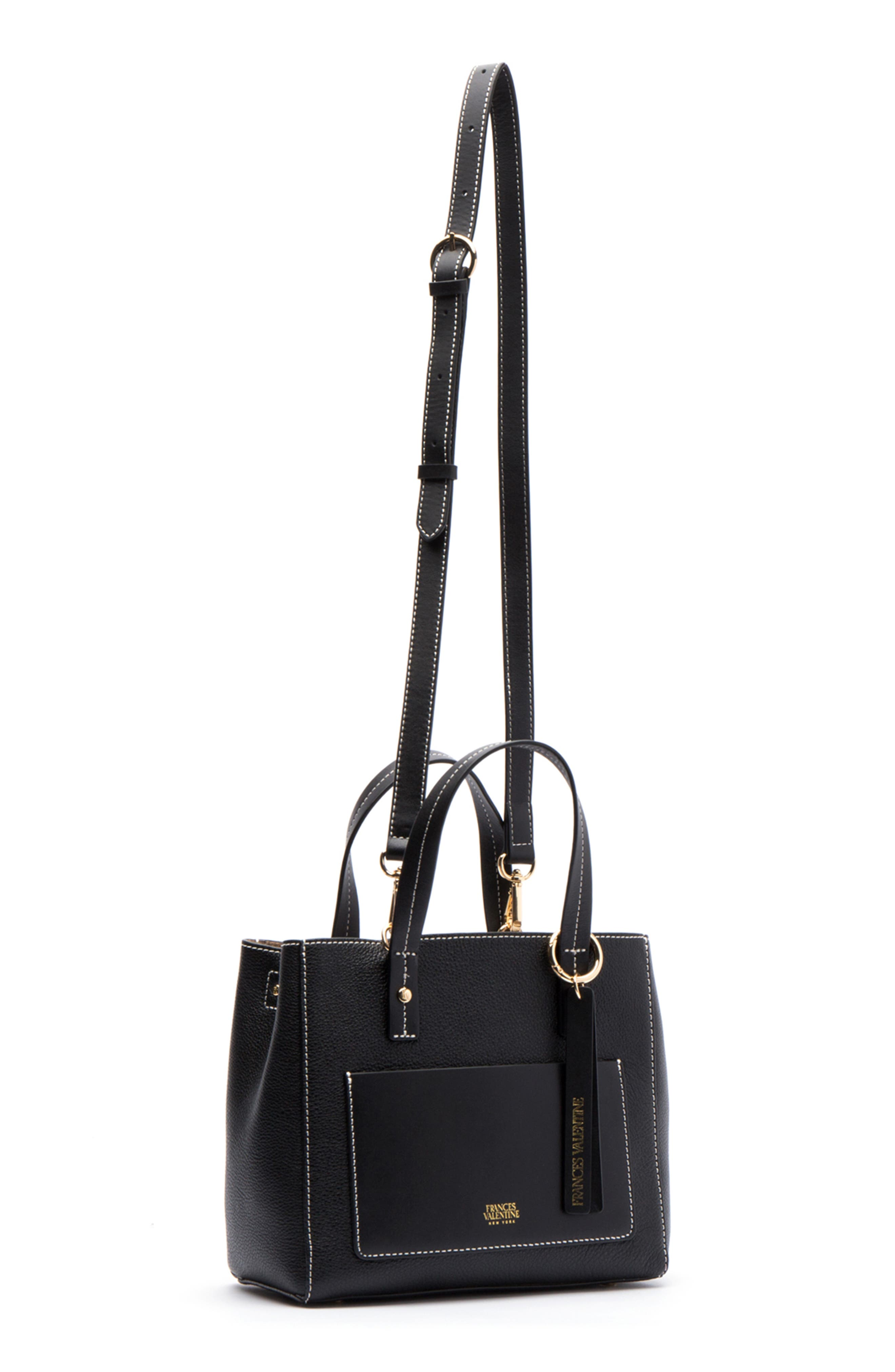 Small Chloe Leather Tote,                             Alternate thumbnail 6, color,                             BLACK