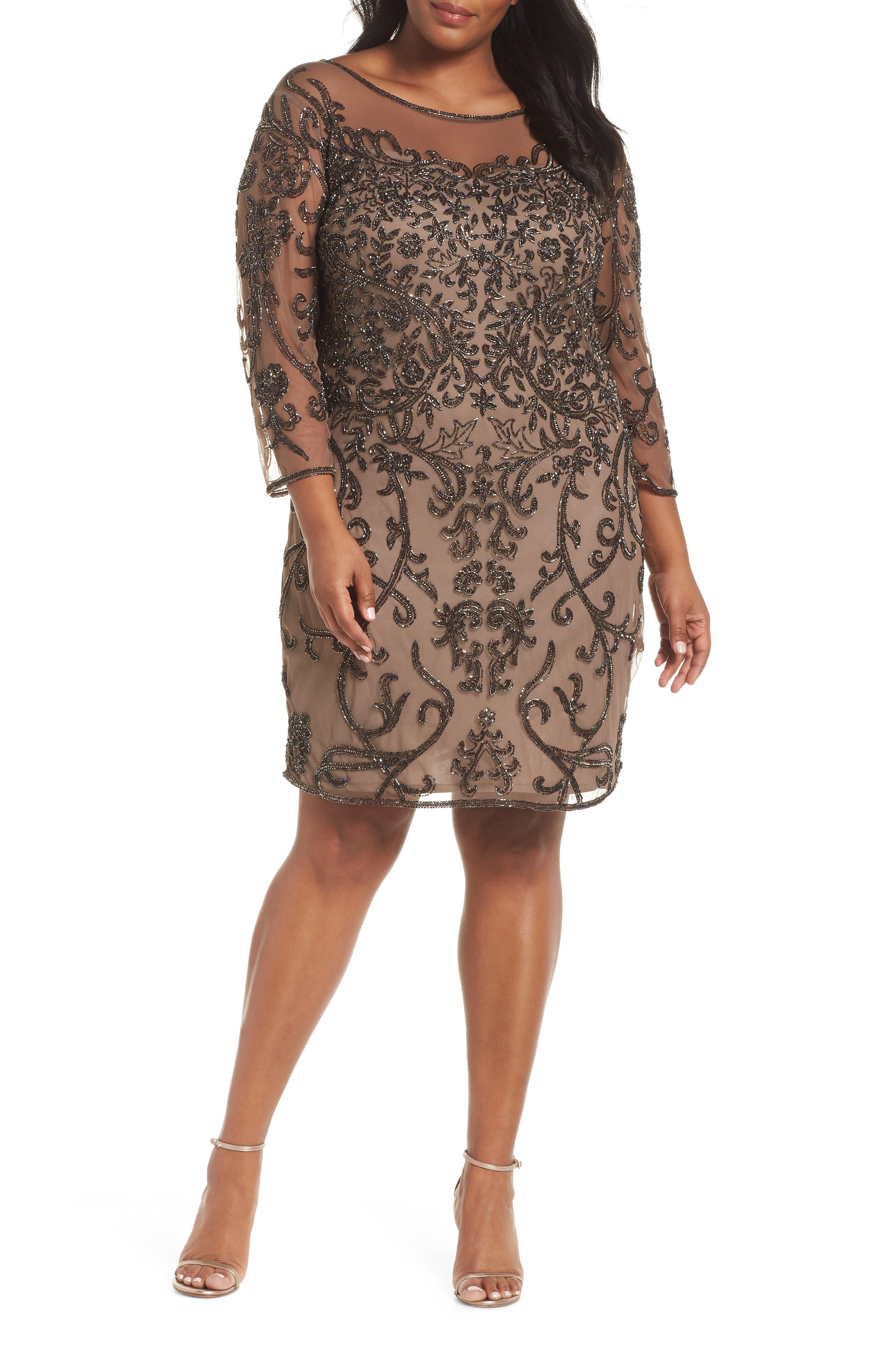 Illusion Sleeve Beaded Sheath Dress,                         Main,                         color, BROWN/ GOLD