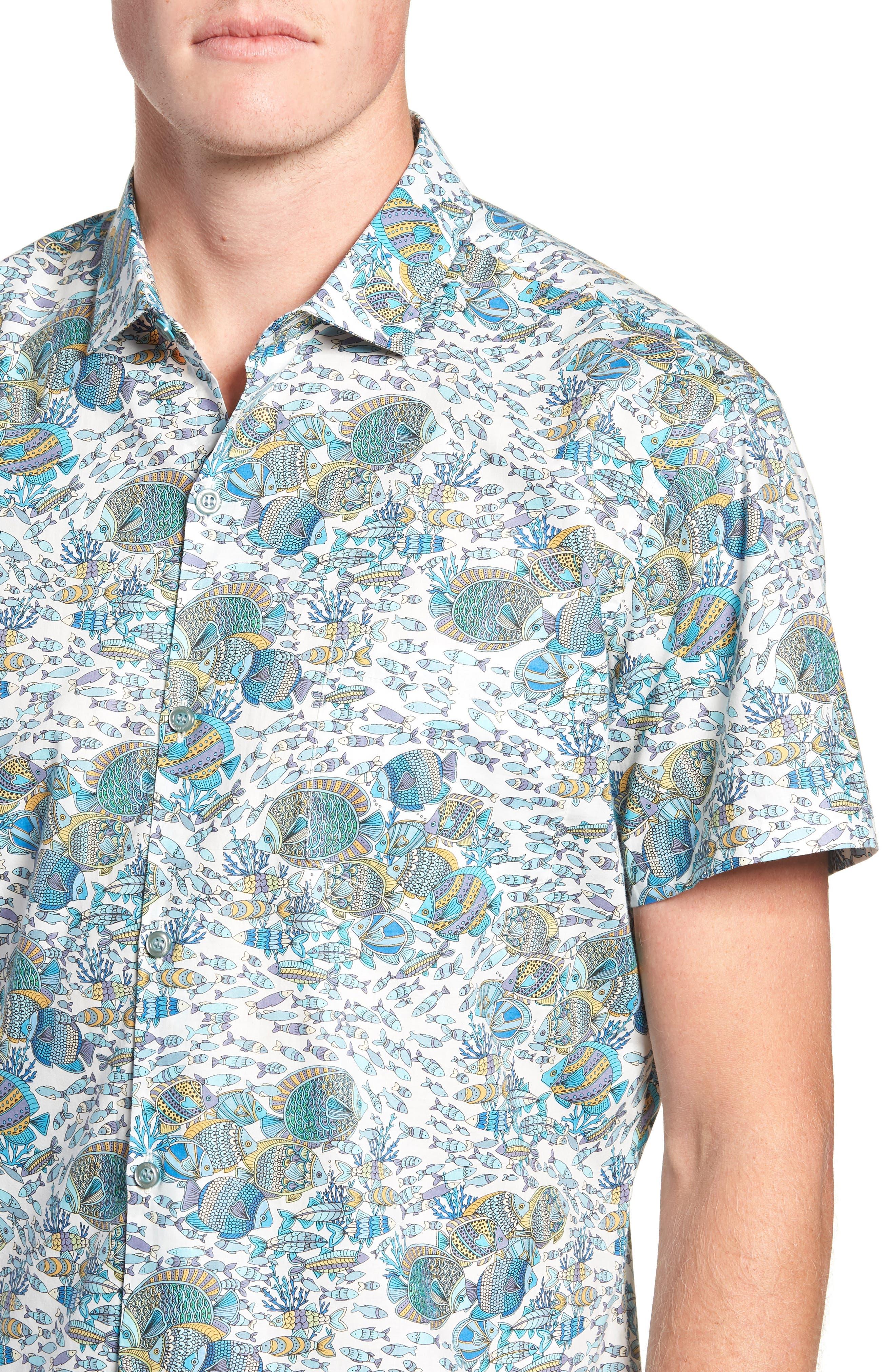 Crowdsource Trim Fit Camp Shirt,                             Alternate thumbnail 4, color,                             100