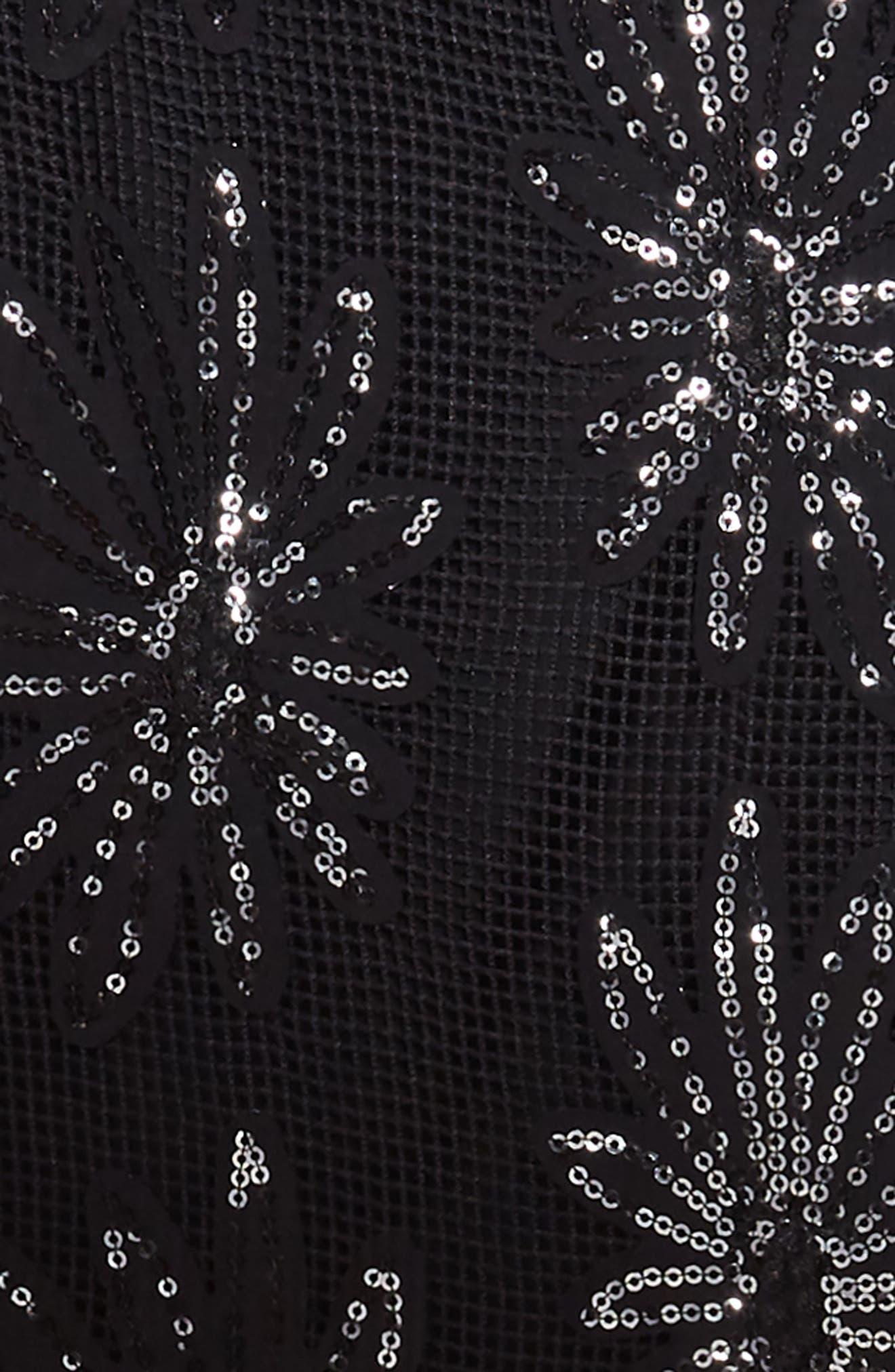 Sequin Flower Dress,                             Alternate thumbnail 3, color,                             001