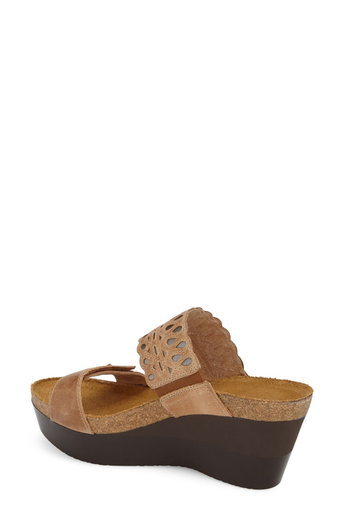 'Rise' Platform Wedge Sandal,                             Alternate thumbnail 2, color,                             LATTE BROWN LEATHER