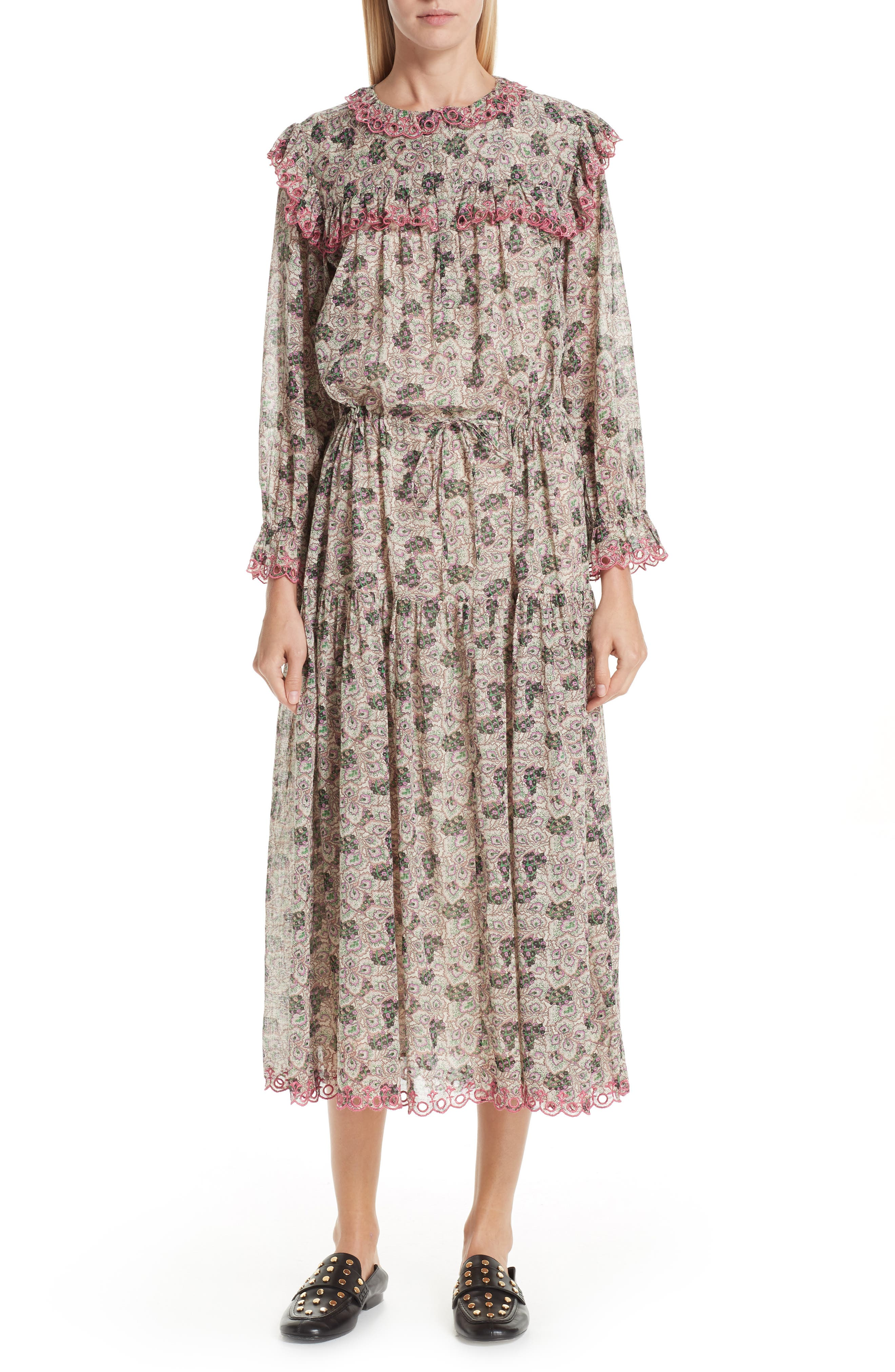 70s Dresses – Disco Dresses, Hippie Dresses, Wrap Dresses Womens Isabel Marant Etoile Eina Floral Print Midi Dress $229.98 AT vintagedancer.com