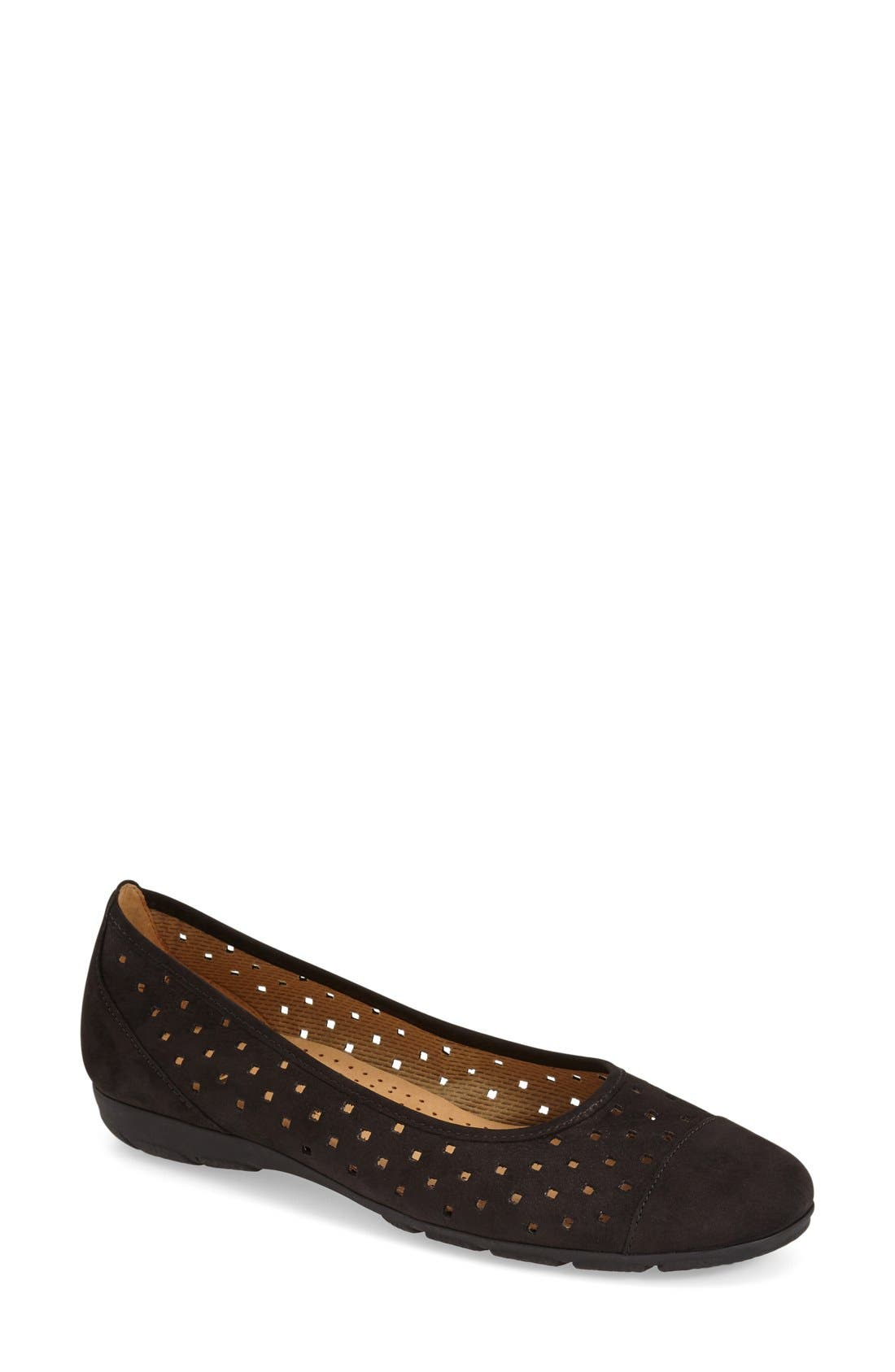 Perforated Ballet Flat,                         Main,                         color, BLACK NUBUCK