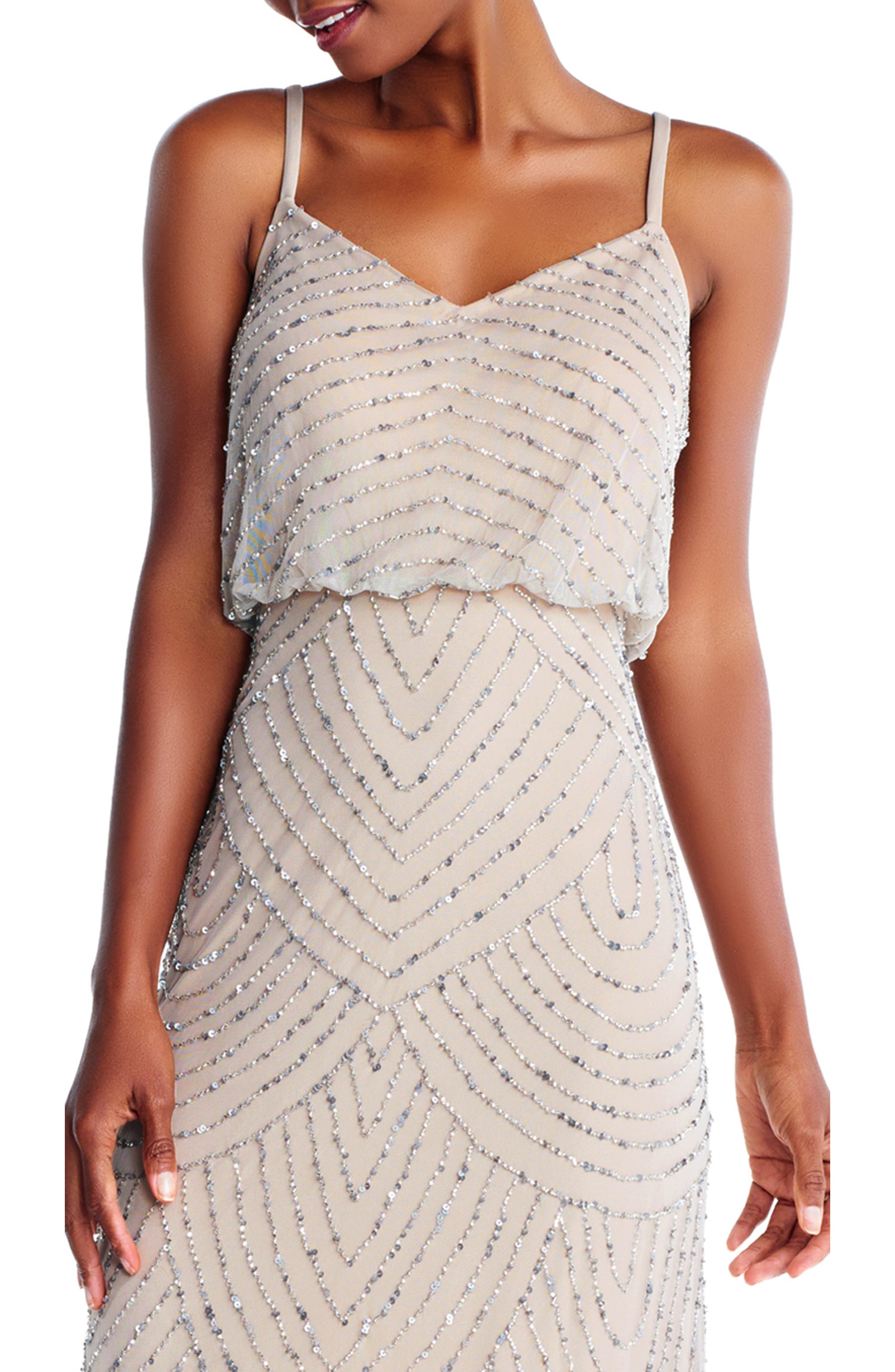 Embellished Blouson Gown,                             Alternate thumbnail 4, color,                             SILVER/ NUDE