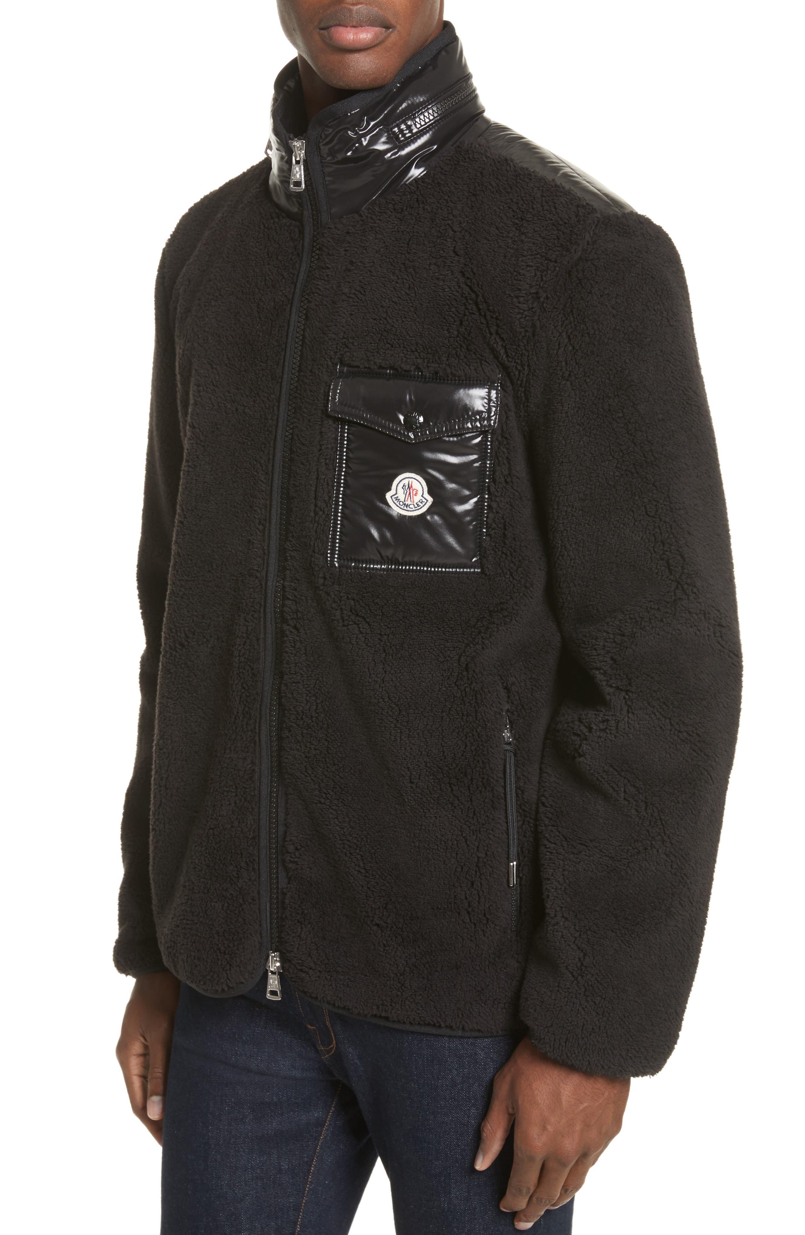 Polar Fleece Zip Jacket,                             Alternate thumbnail 4, color,                             001