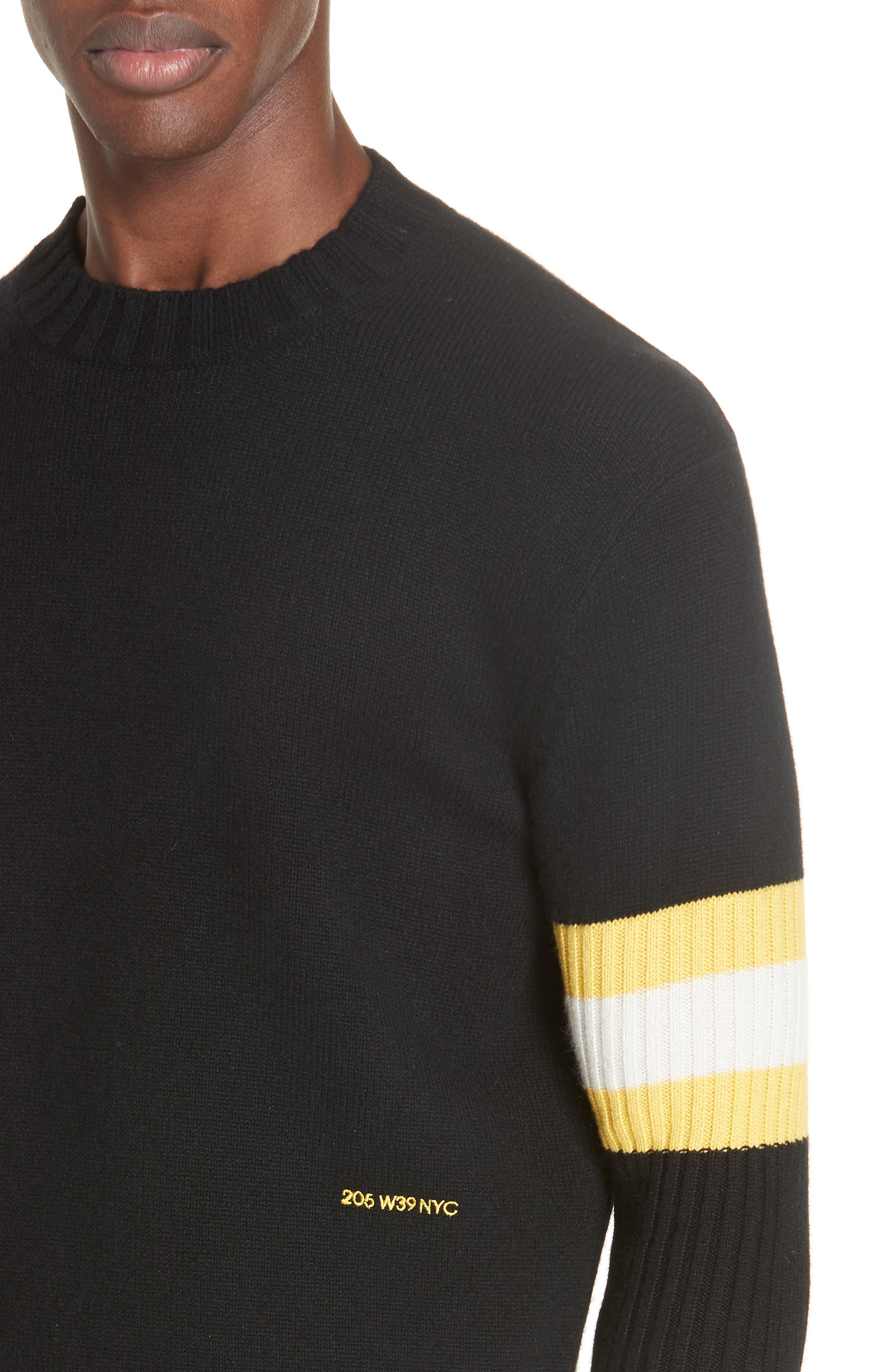 Cashmere Stripe Sleeve Sweater,                             Alternate thumbnail 4, color,                             001