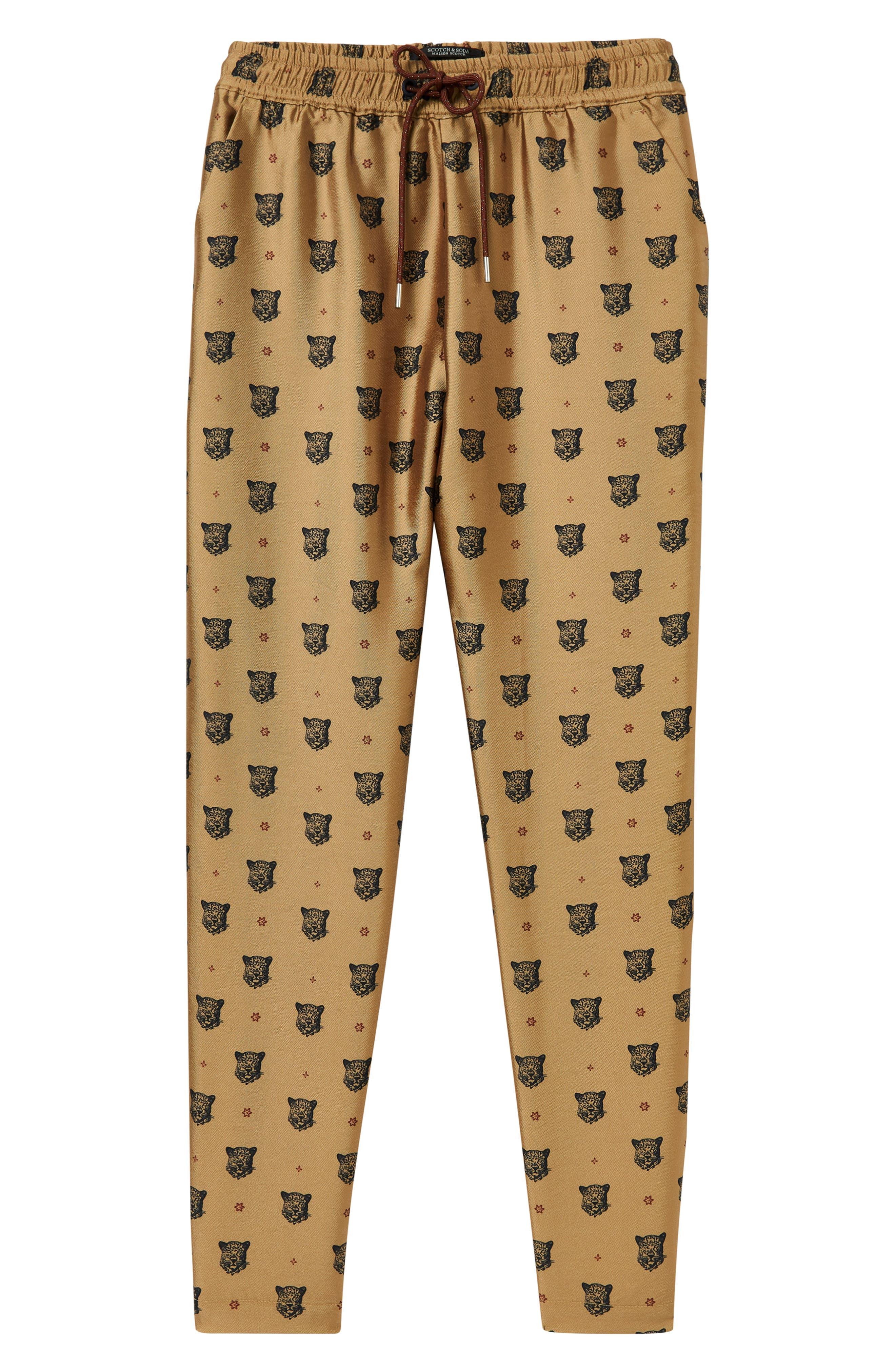 Tailored Leopard Pants,                             Alternate thumbnail 4, color,                             GOLD W/ LEOPARD PRINT