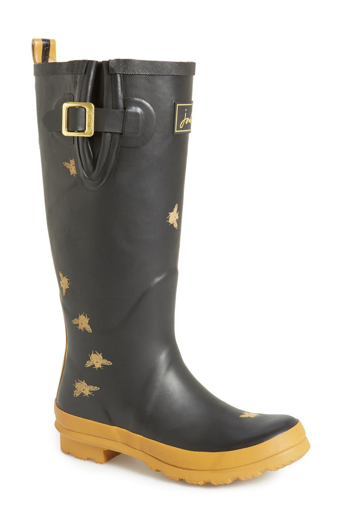 'Wellyprint' Rain Boot, Main, color, 002