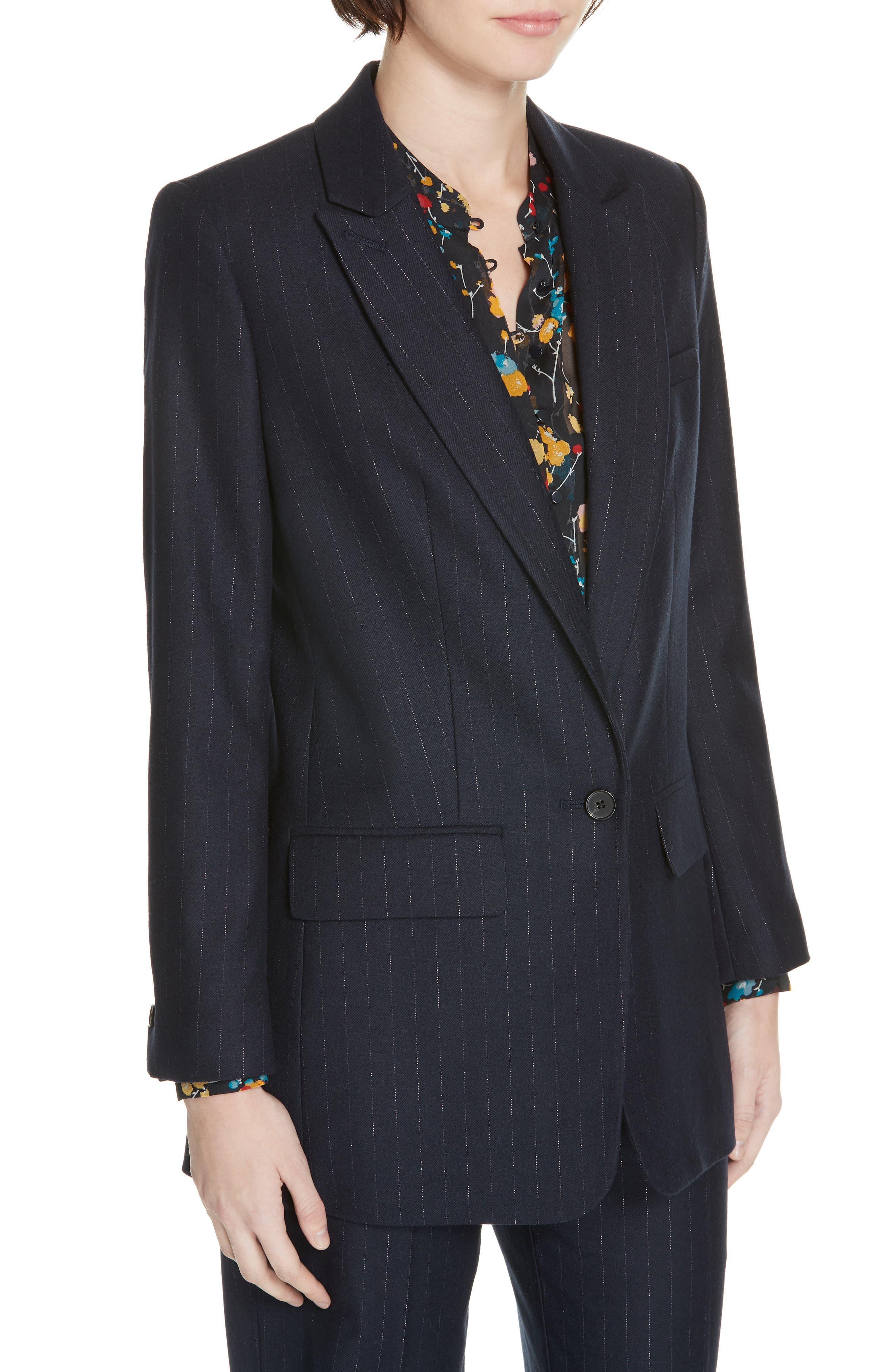 EQUIPMENT,                             Jeanne Metallic Stripe Blazer,                             Alternate thumbnail 4, color,                             401