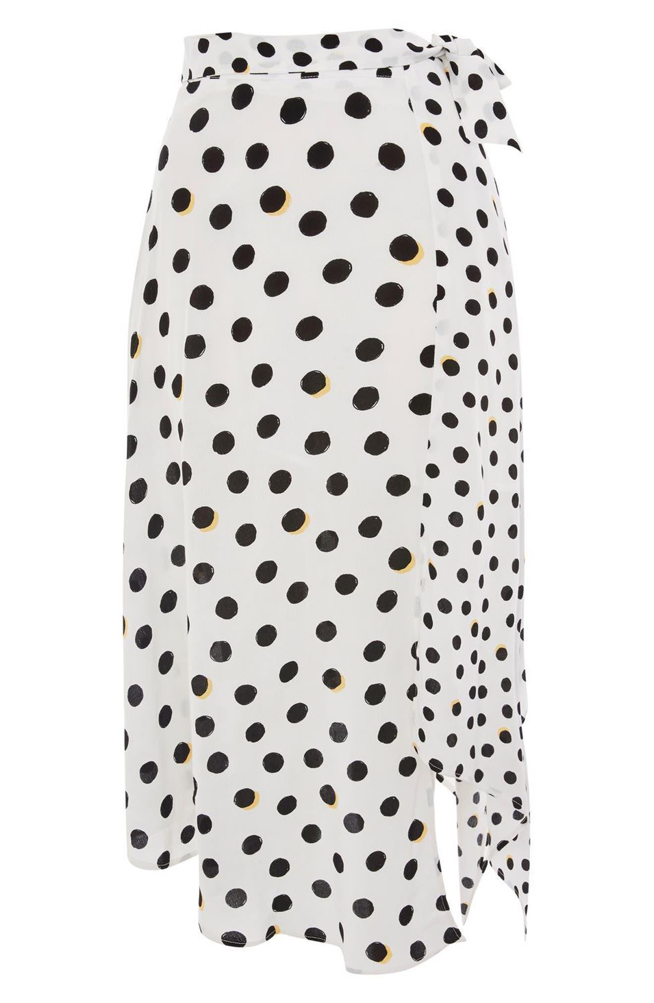 Polka Dot Handkerchief Hem Skirt,                             Alternate thumbnail 6, color,