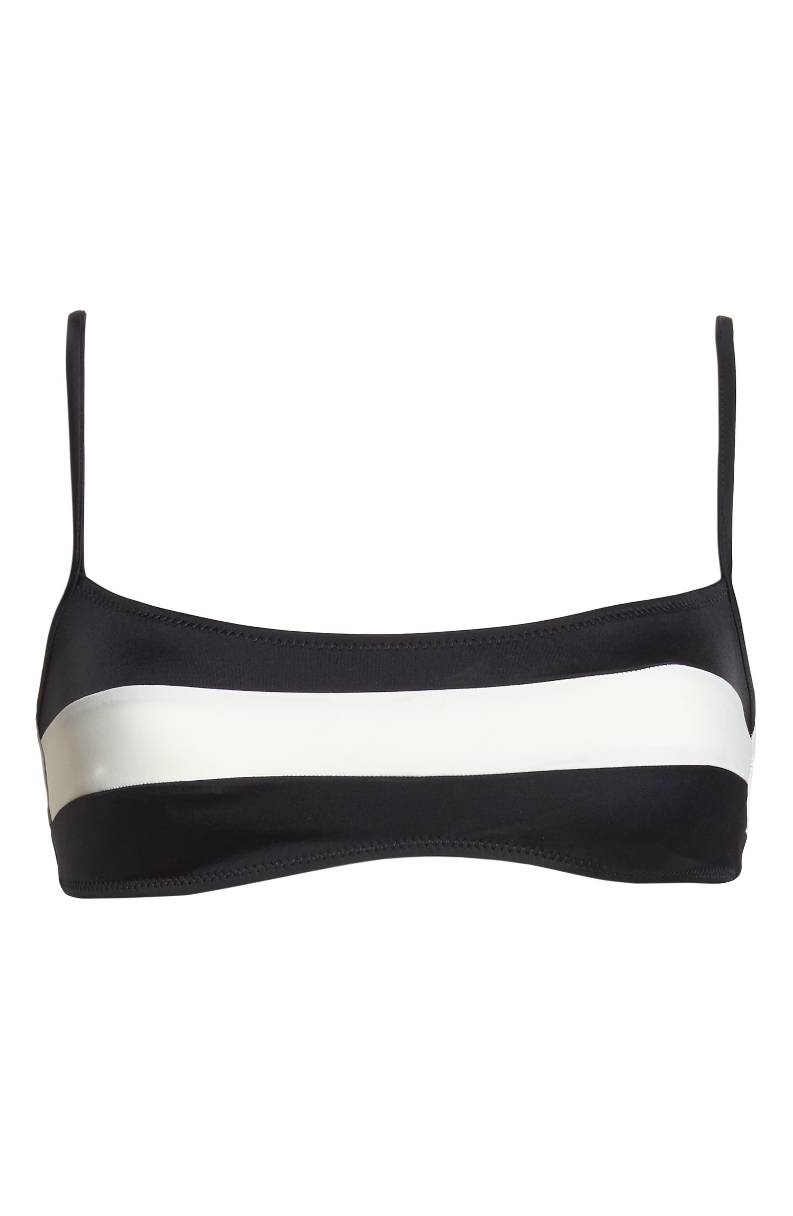 Brooke Bikini Top,                             Alternate thumbnail 5, color,                             BLACK CREAM