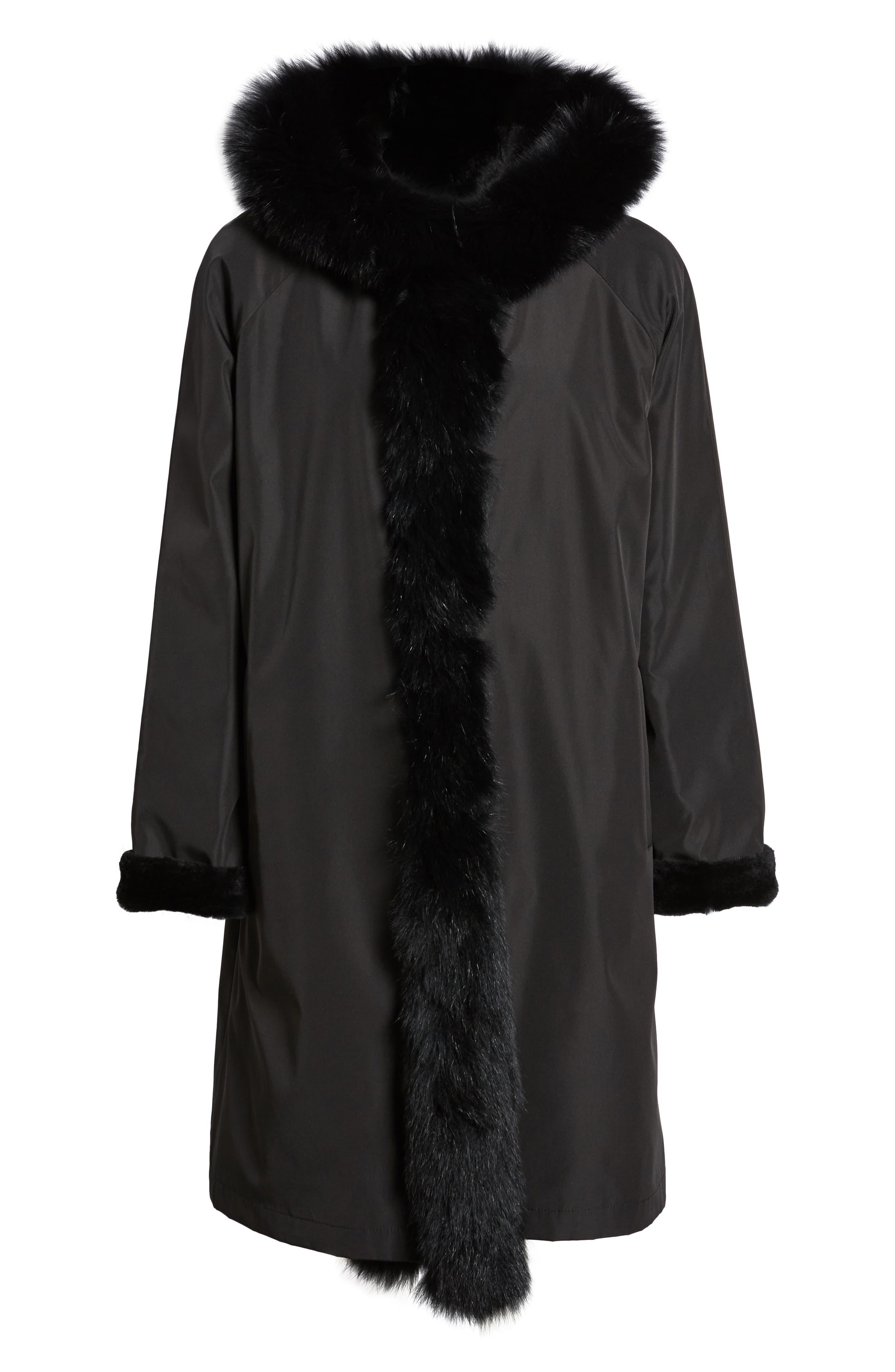 Hooded Reversible Genuine Fur Coat,                             Alternate thumbnail 5, color,                             003