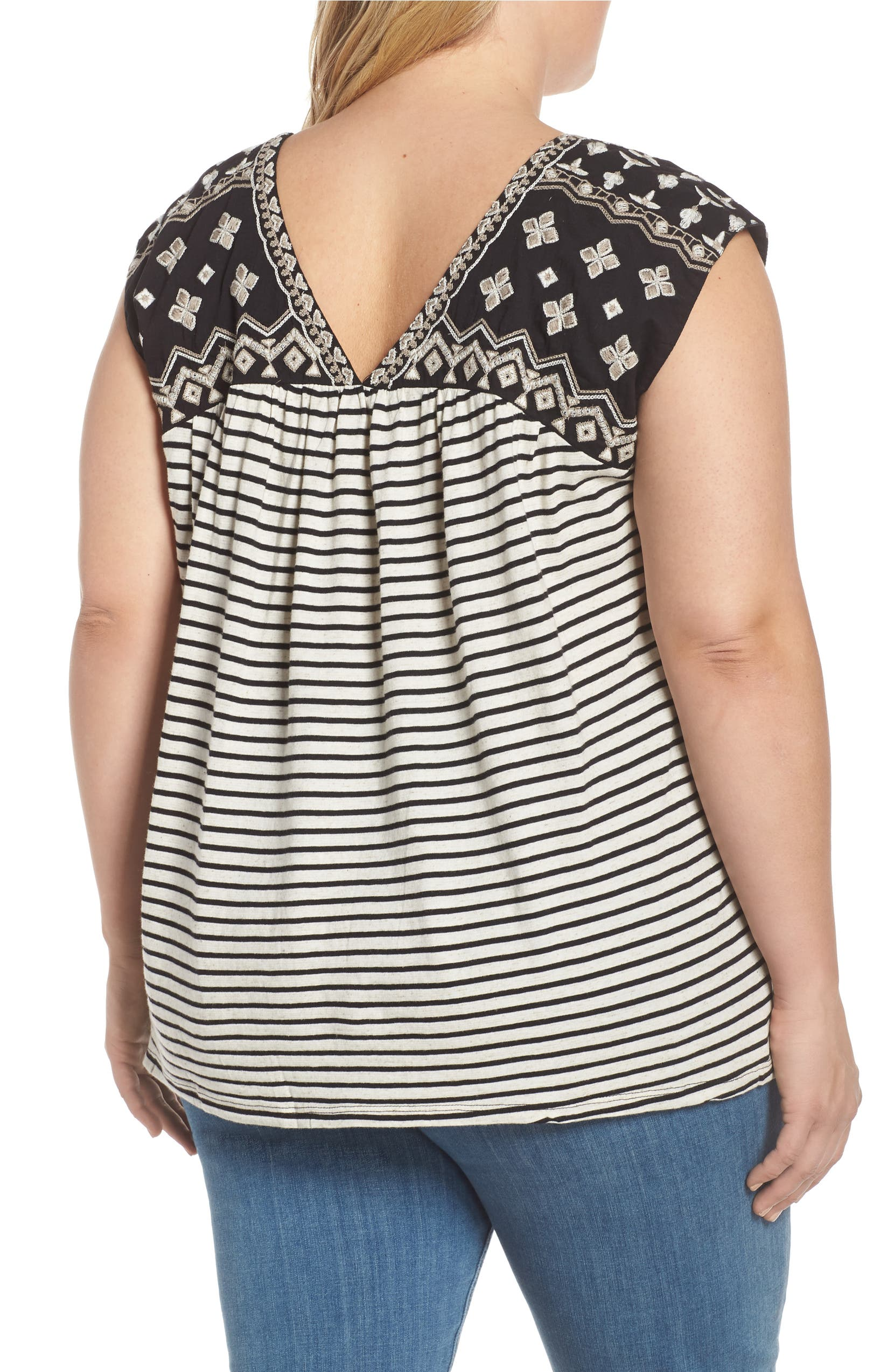 abb83642db270 Lucky Brand Embroidered Detail Stripe Top (Plus Size)