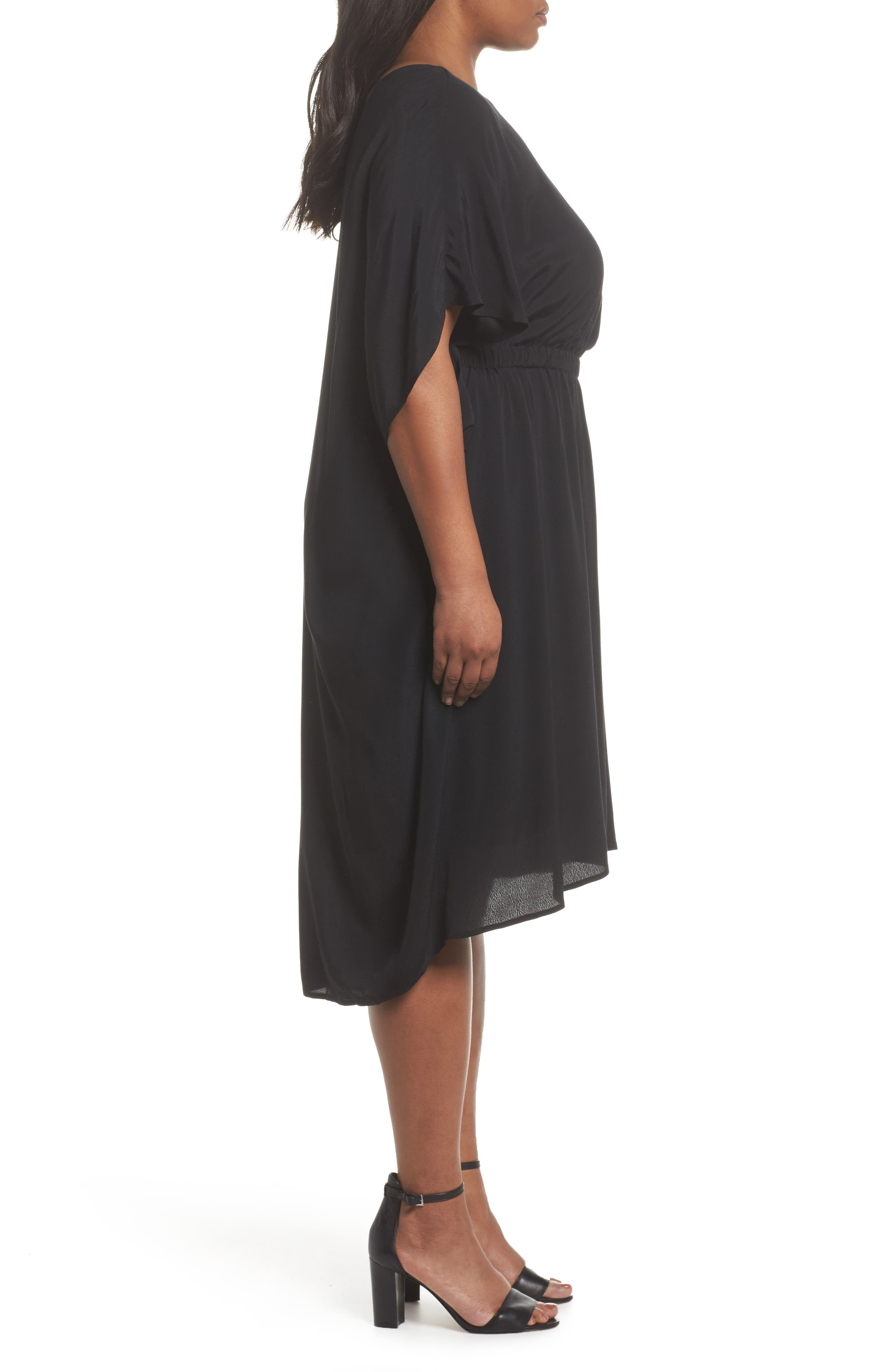 High/Low Caftan Dress,                             Alternate thumbnail 3, color,                             001