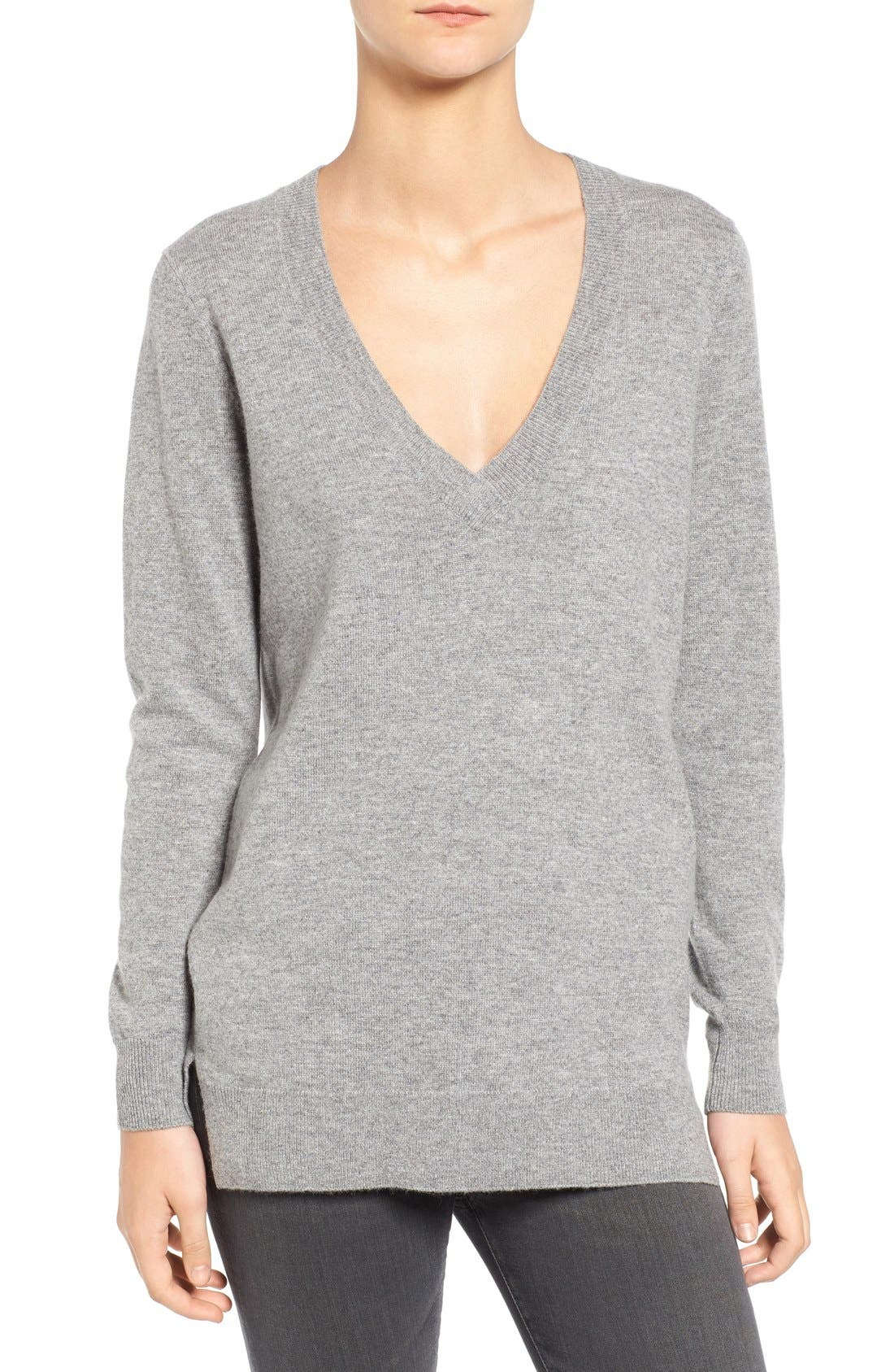 Luna V-Neck Merino & Cashmere Tunic Sweater,                         Main,                         color,