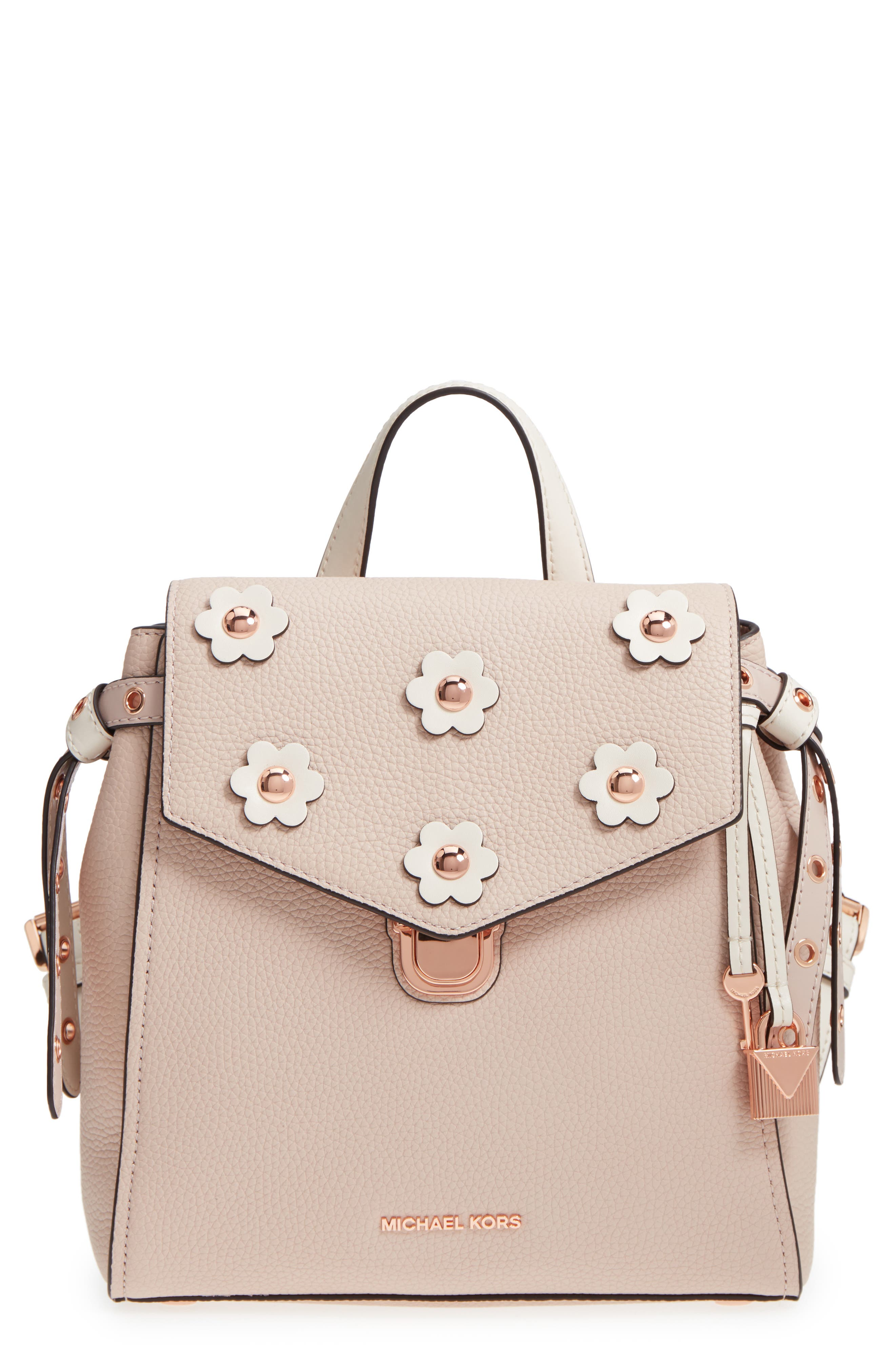 MICHAEL Michael Kors Small Flower Embellished Leather Backpack,                             Main thumbnail 2, color,