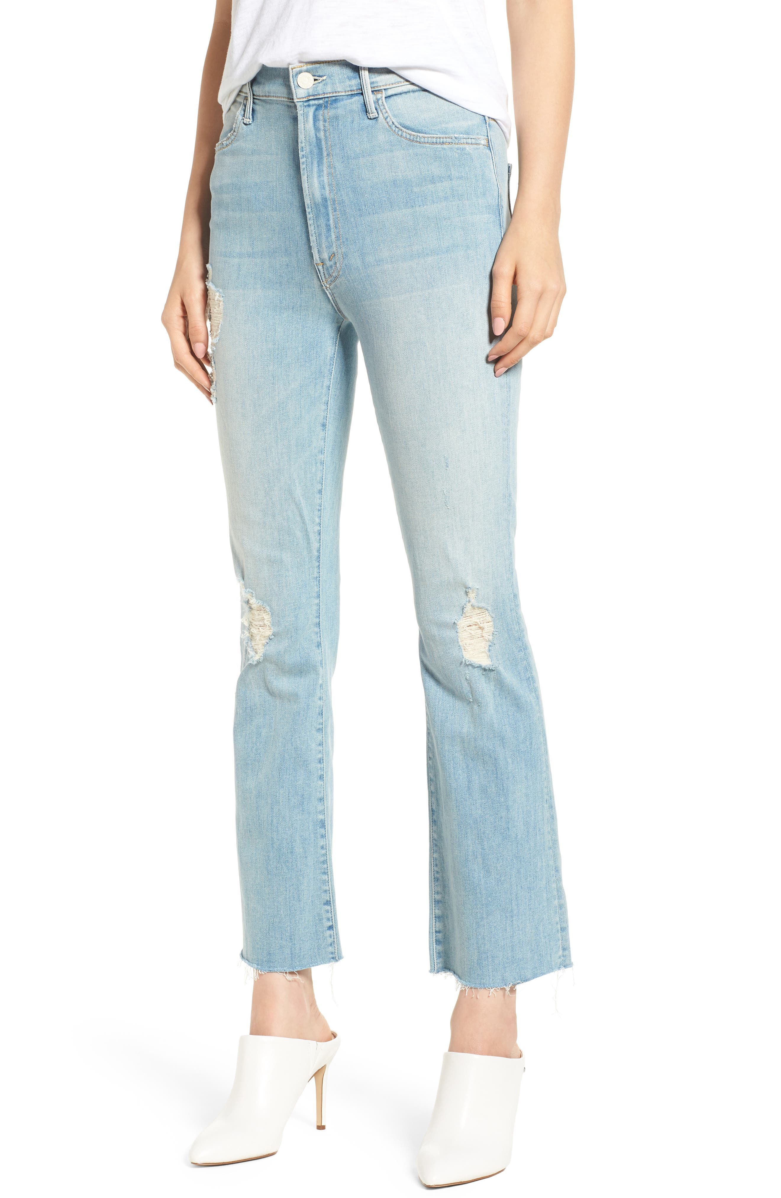 The Hustler Frayed Ankle Jeans,                         Main,                         color, 453