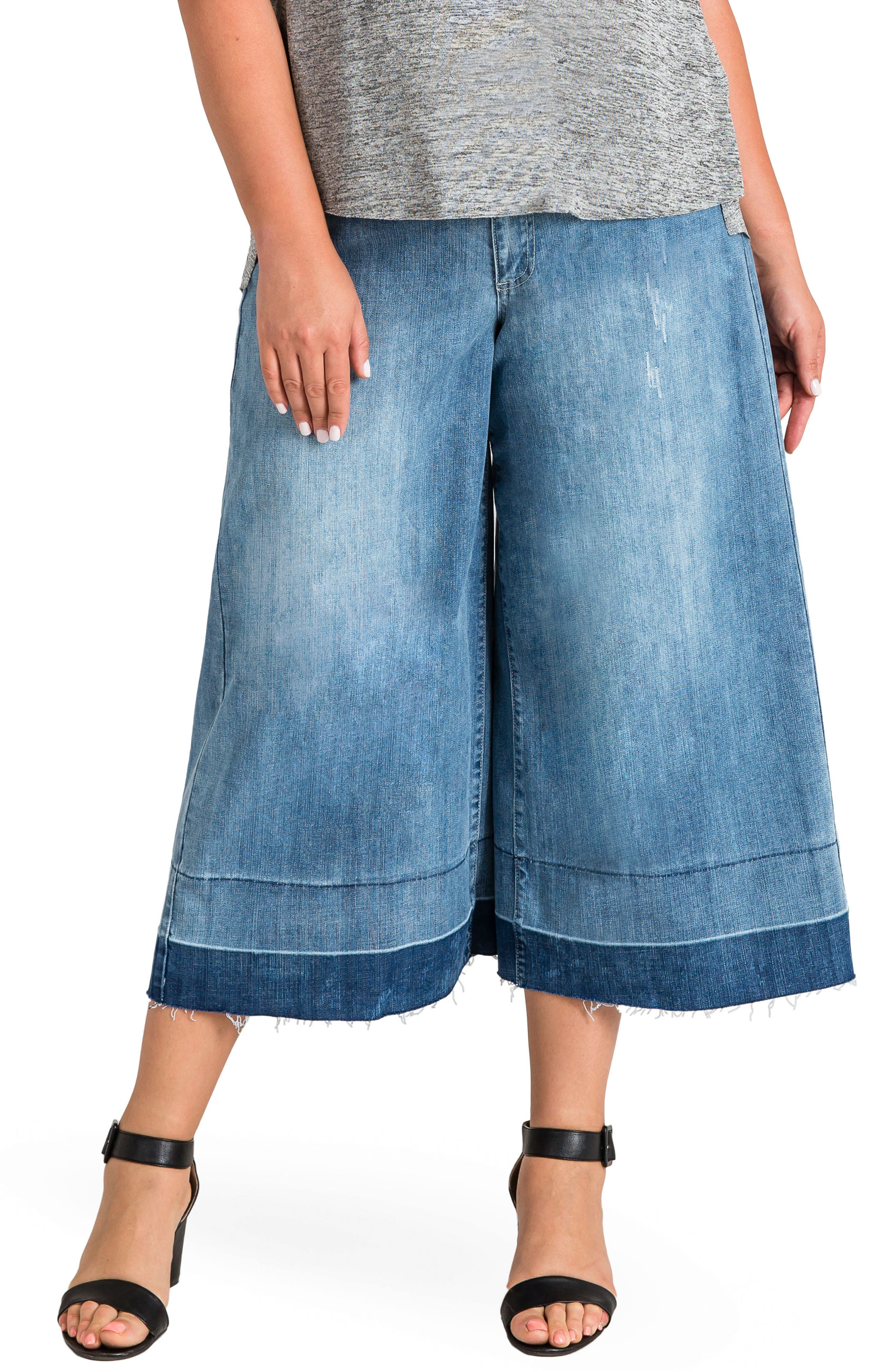 Release Hem Denim Culottes,                             Main thumbnail 1, color,                             SPRUCE