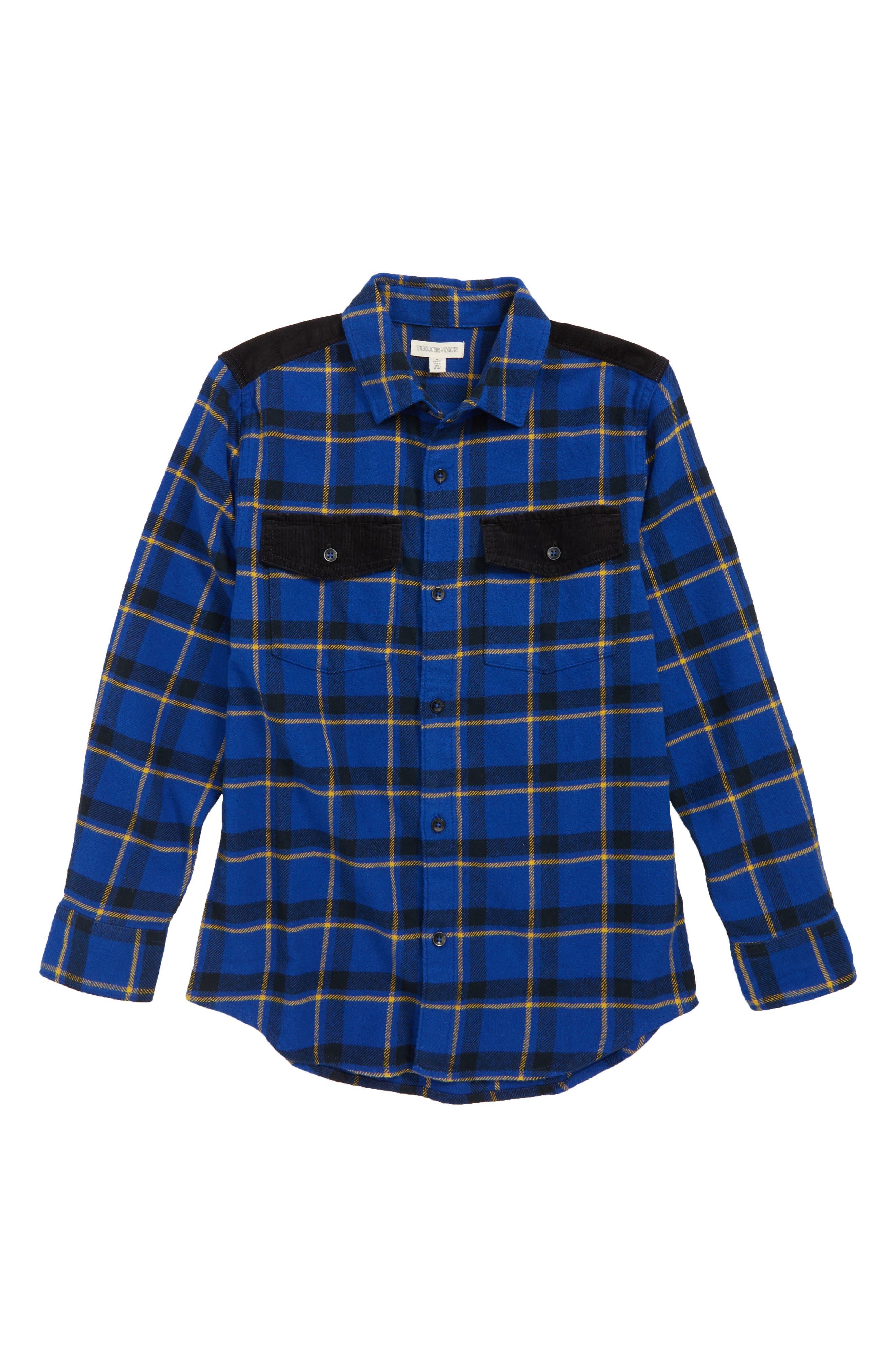 Plaid & Cord Shirt,                             Main thumbnail 1, color,                             BLUE MAZARINE SPACED OUT CHECK